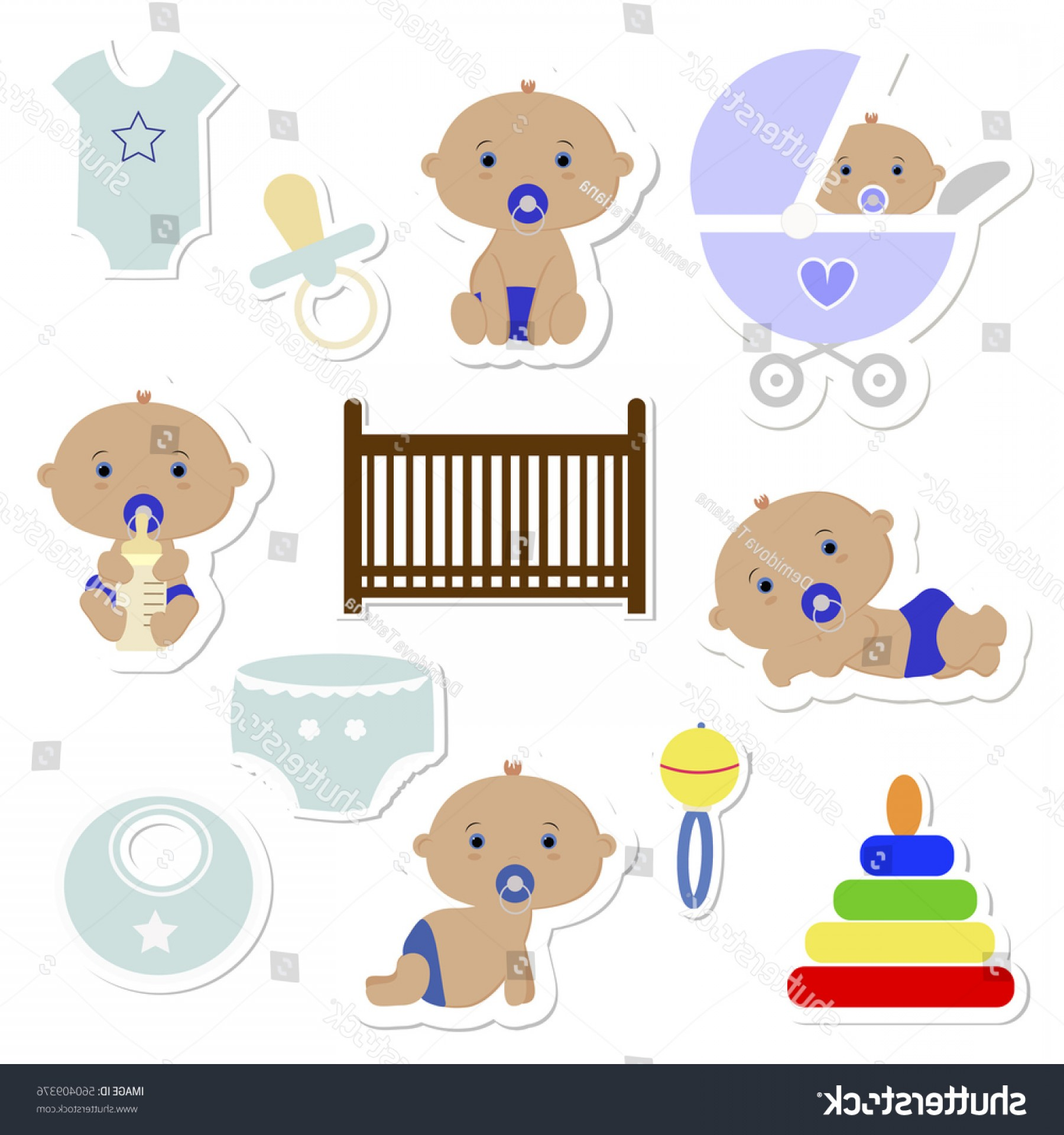 Nautical Vector Art Baby Rattle: Baby Shower Stickers Boy Icons Vector