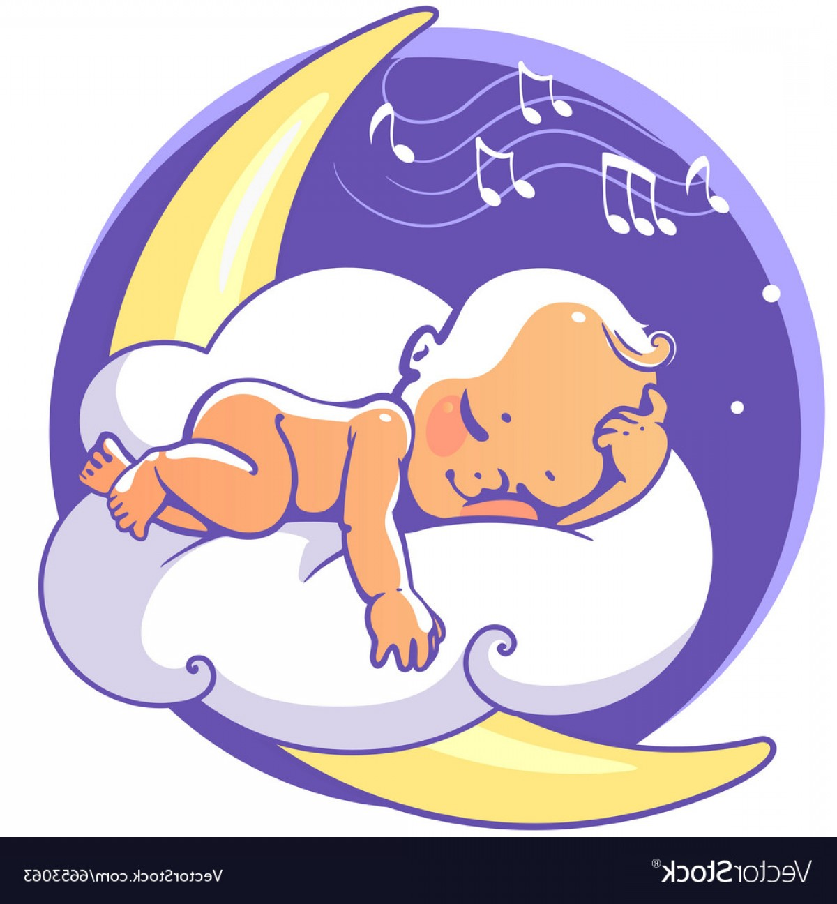 Sleeping Baby Vector: Baby Sleeping On Moon Vector