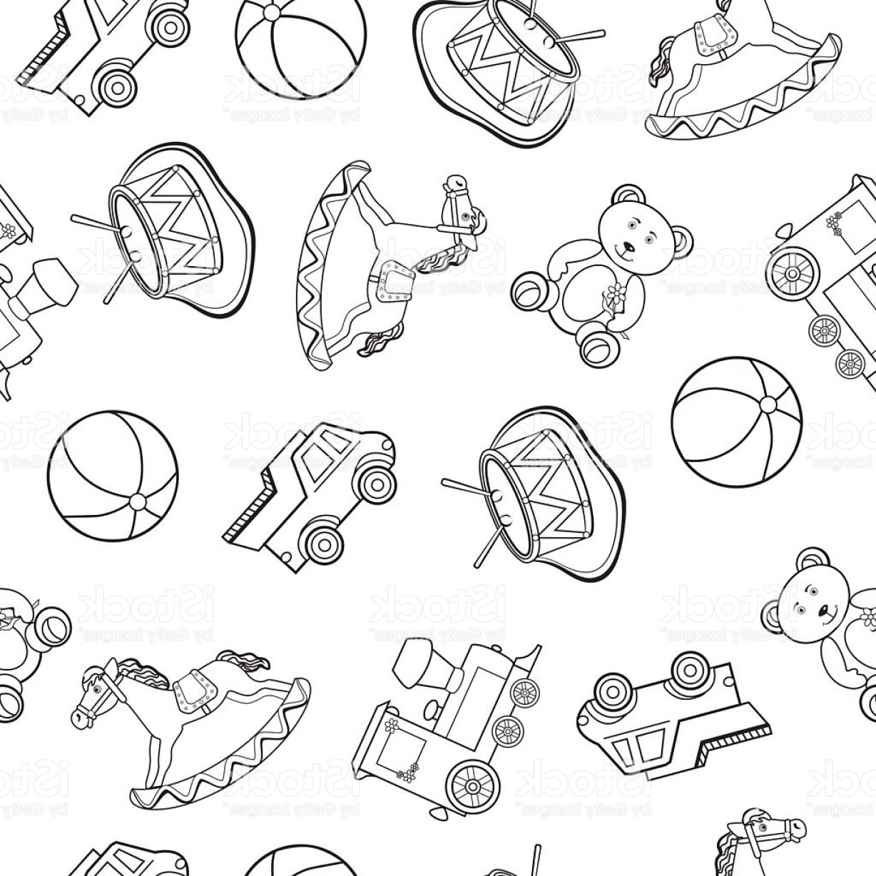 Vector Train Pattern: Baby Toy Drawings Car Bear Horse Train Vector Seamless Pattern Gm