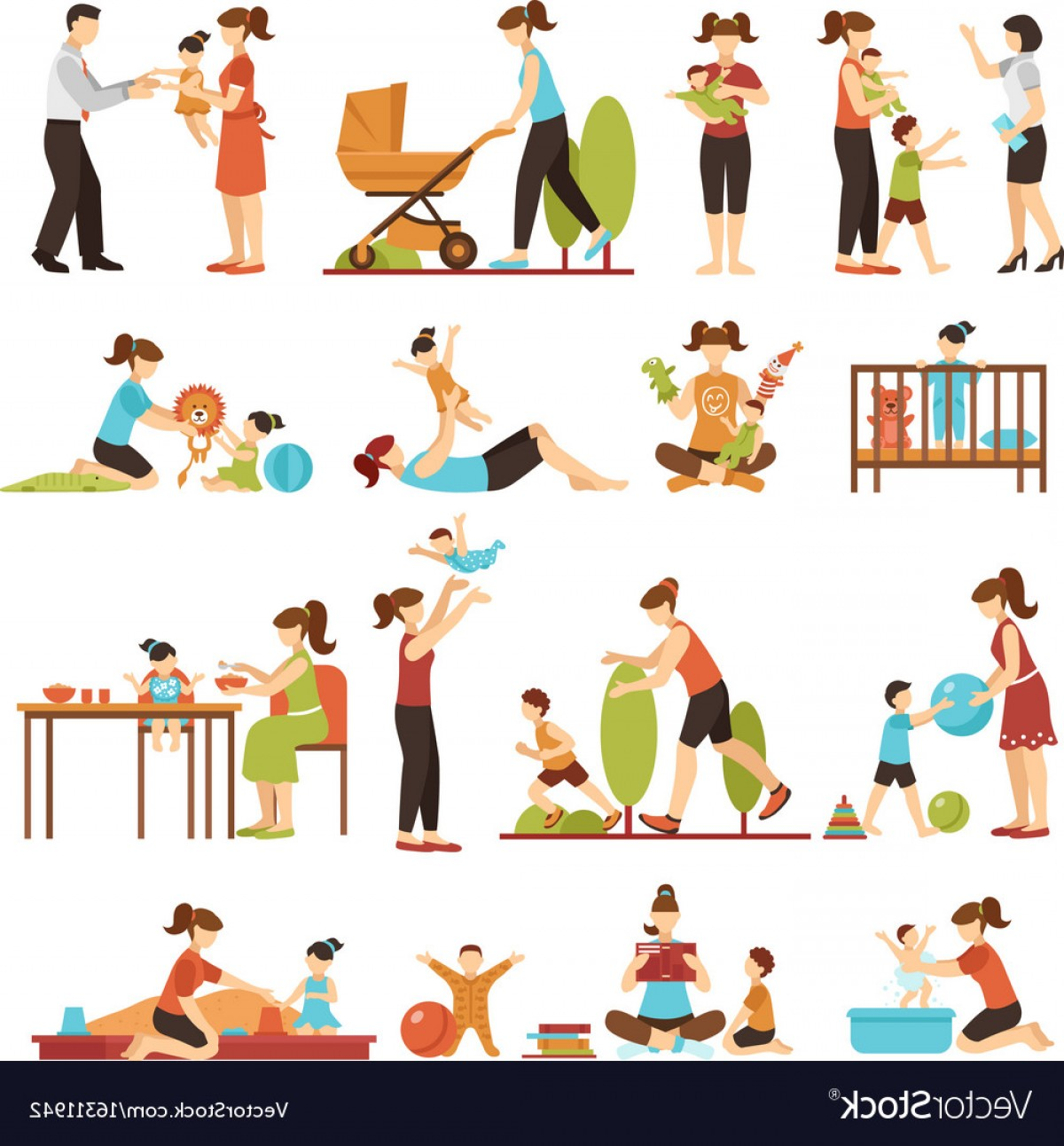 Babysitting In Diapers Vector Black: Babysitter Flat Set Of Decorative Colored Icons Vector