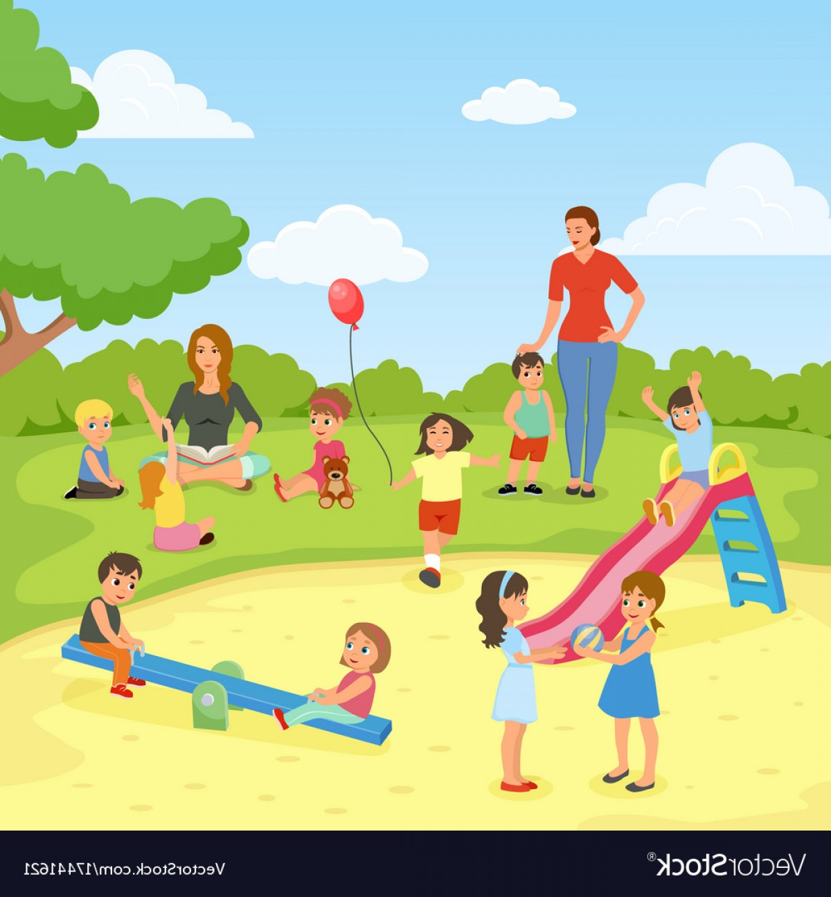 Babysitting In Diapers Vector Black: Babysitters With Kids Flat Composition Vector