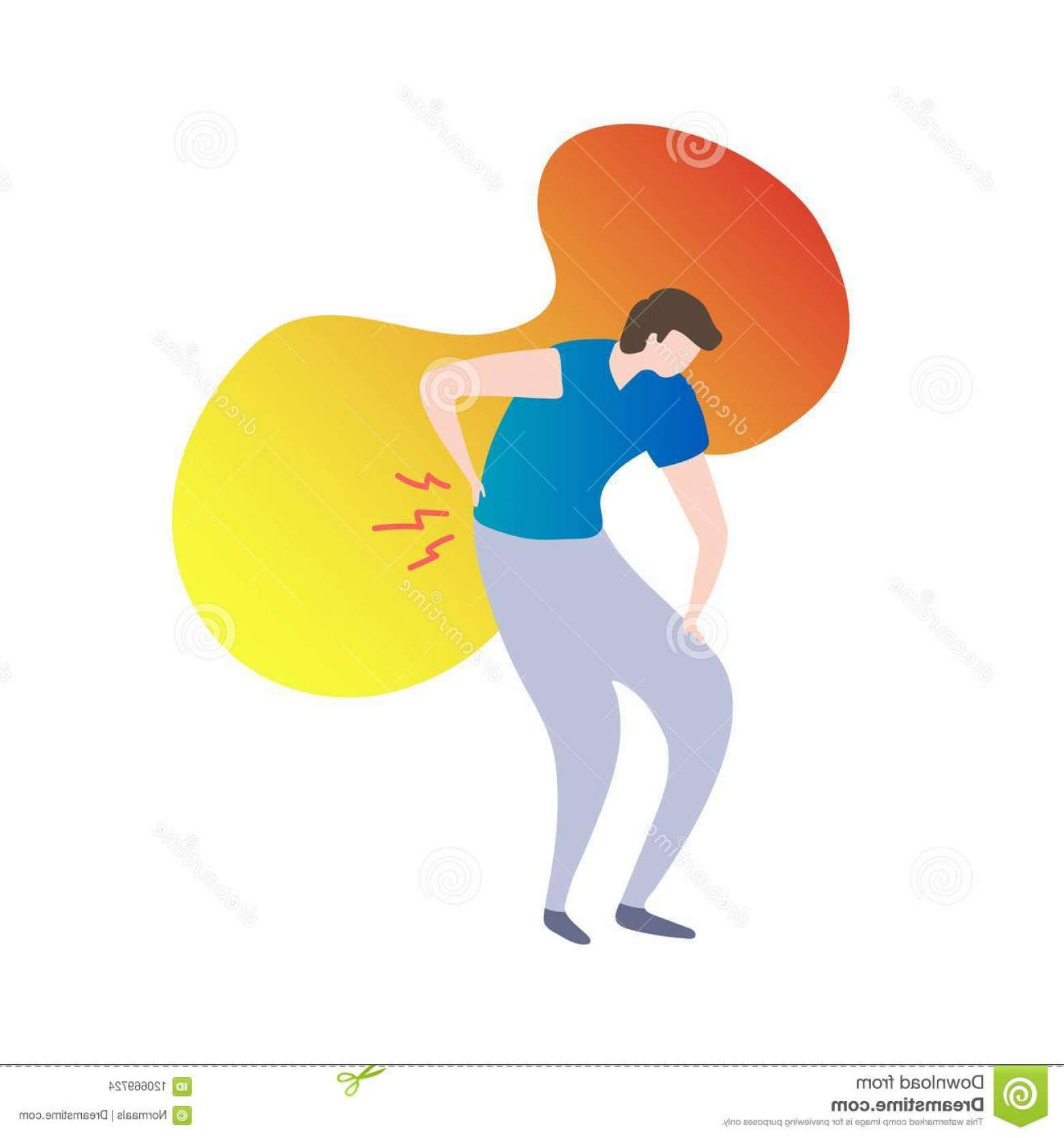 Vector Person Holding: Back Pain Concept Modern Vector Illustration Male Person Holding Fluid Gradient Background Painful Spinal Injury Tension Image