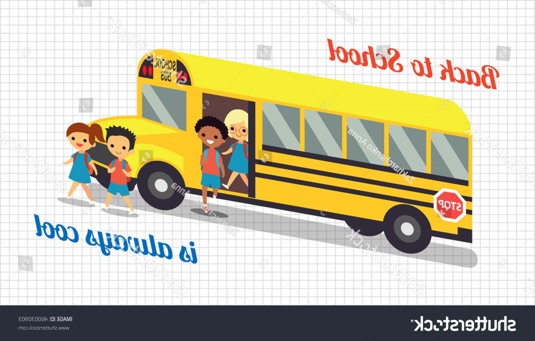 Pic Bus Vector Format: Back School Background Students Children Bus