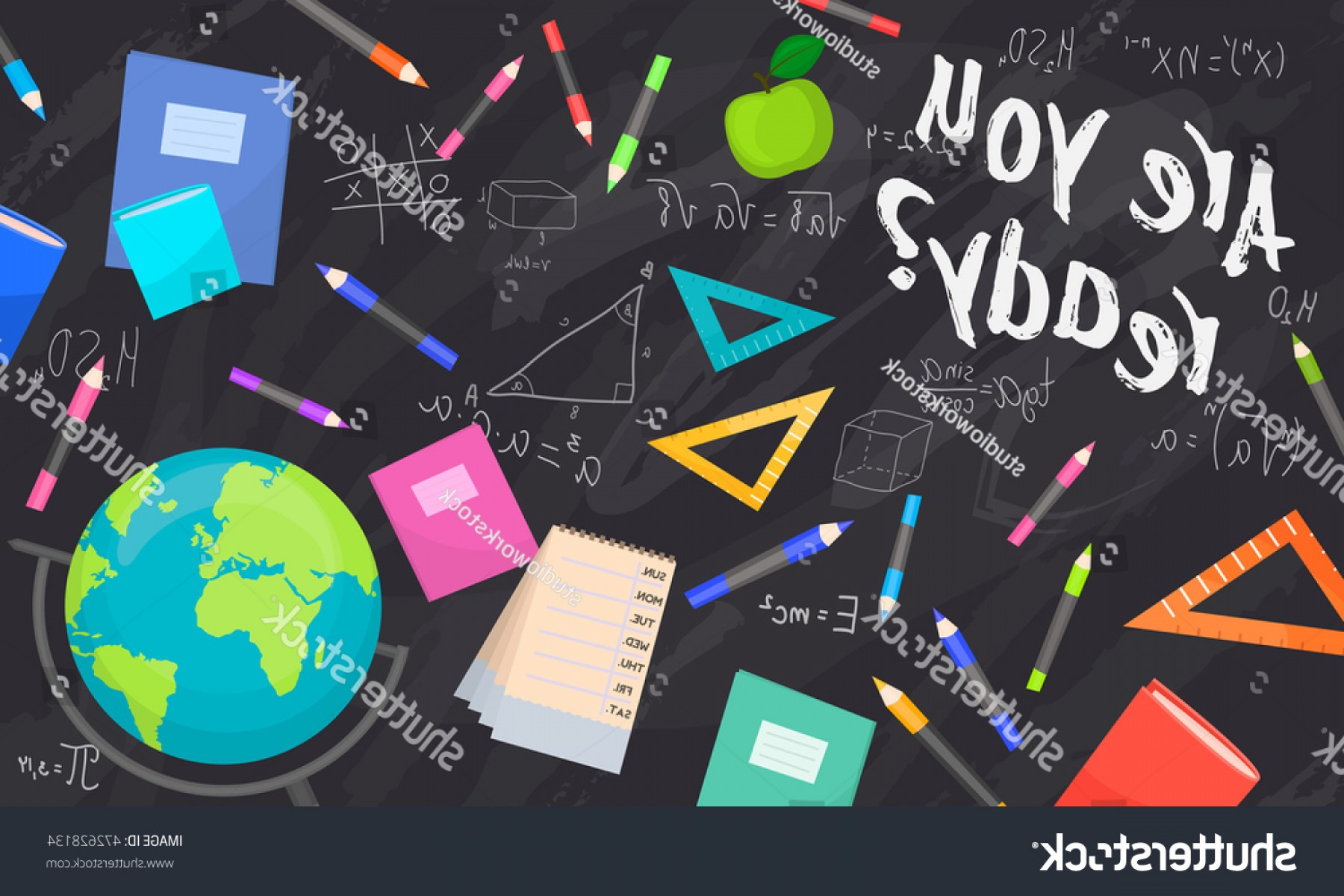 Individual School Supplies Vector: Back School Background Vector Illustration Concept