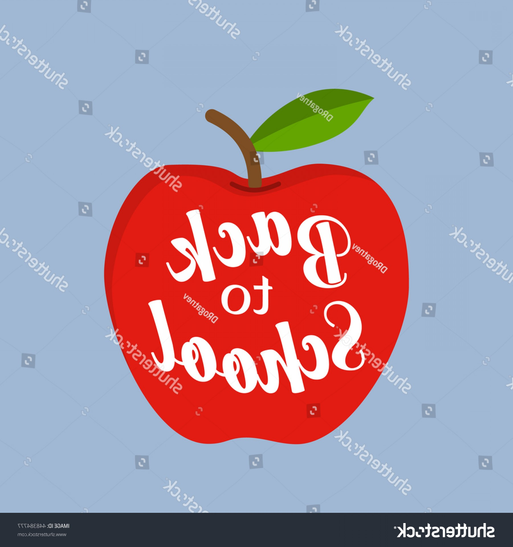 Red Apple Vector Logo: Back School Message Red Apple Vector