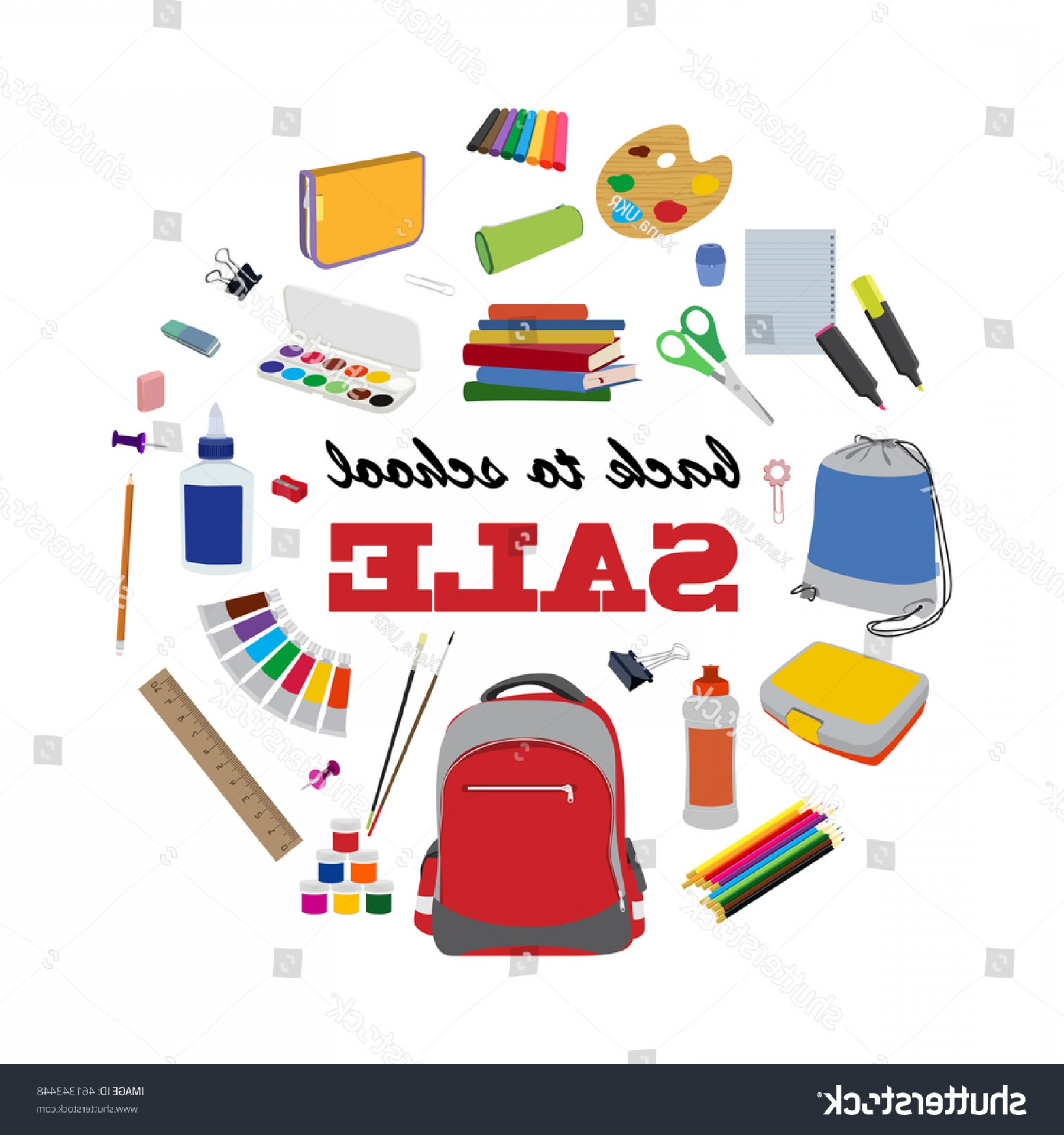 Individual School Supplies Vector: Back School Round Sale Banner Design