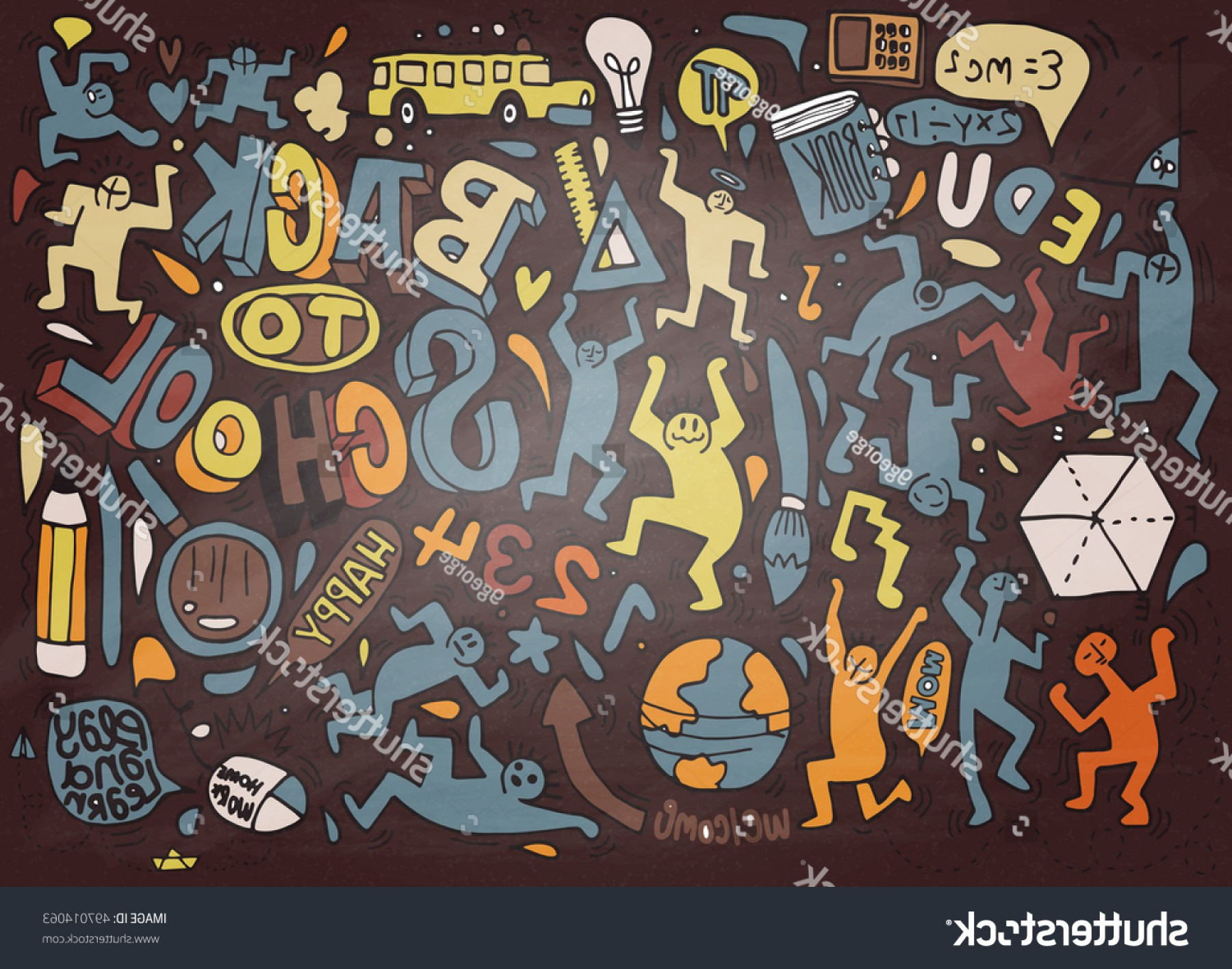 School Themed Vector: Back School Themed Doodle Backgroundschool Doodles