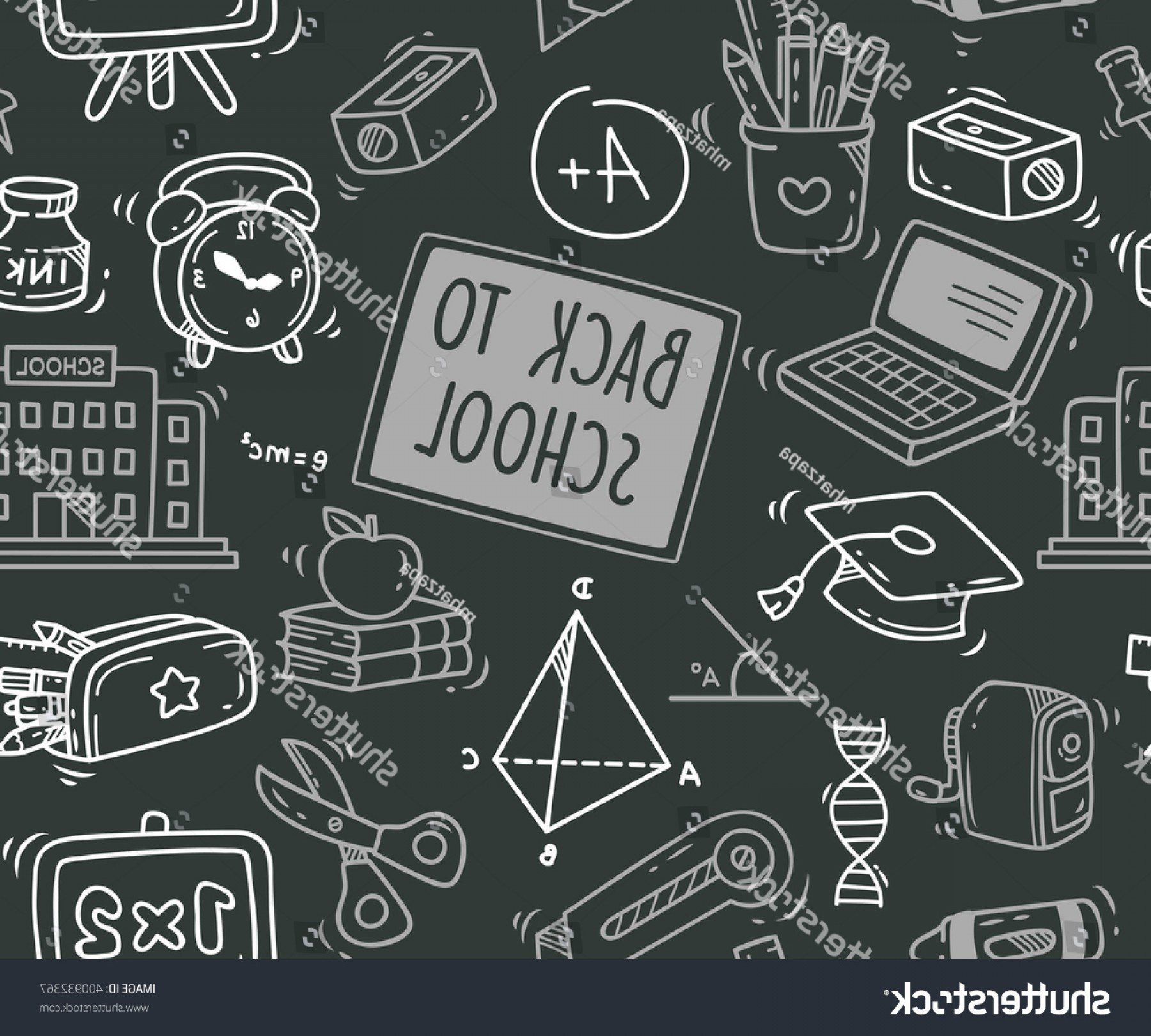 School Themed Vector: Back School Themed Doodle Seamless Background