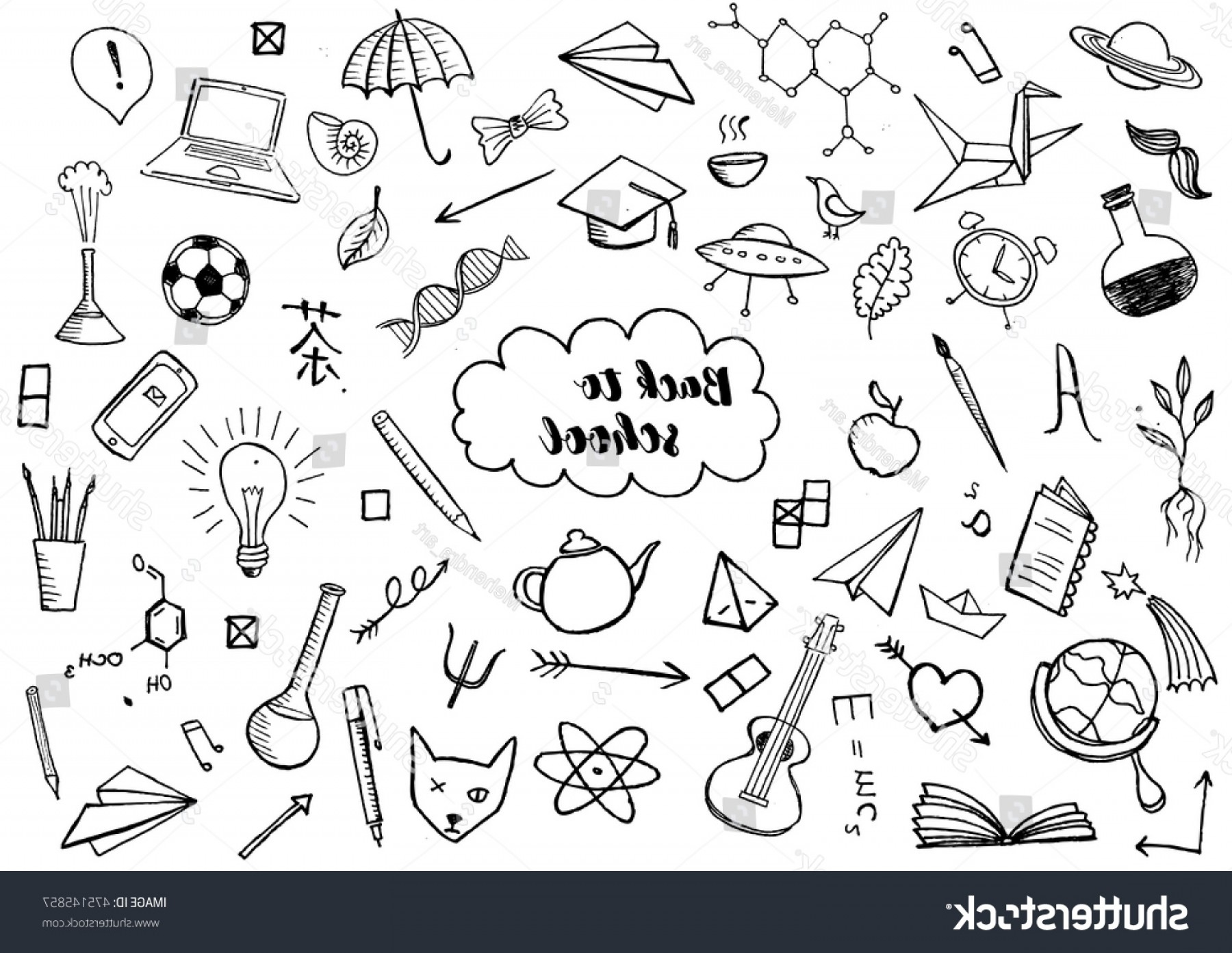 School Themed Vector: Back School Themed Doodle Vector Background