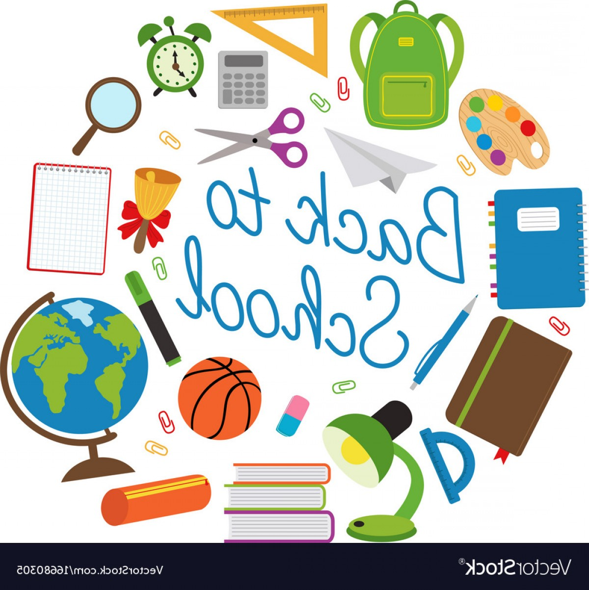 Supplies Vector Graphic: Back To School Circle With School Supplies Vector