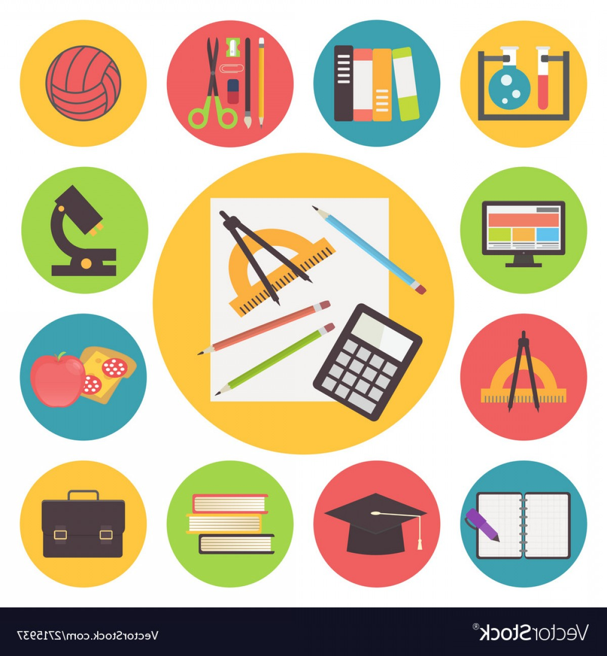 Free Vector Flat Education Icons: Back To School Icons Set Flat Design Vector