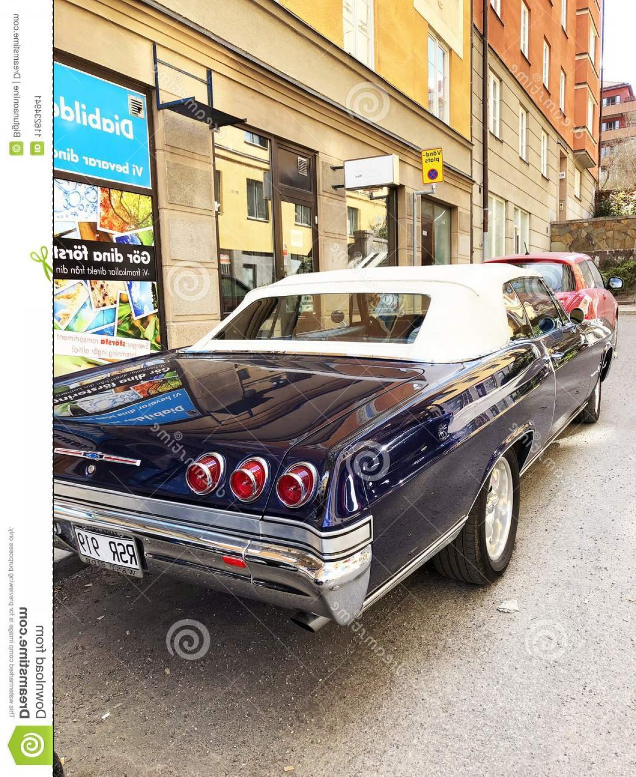 Old Impala Logo Vector: Back View Old Retro Classic Car Chevrolet Impala Ss City Street Detailing Stockholm Sweden April Image