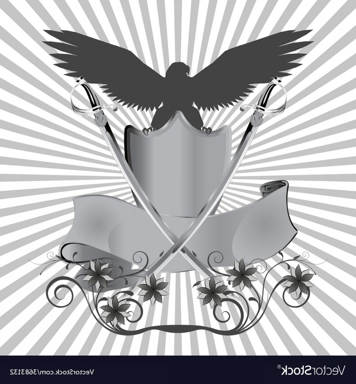Vector Eagle Shield Sword: Background Eagle On Shield With Swords And Flowers Vector