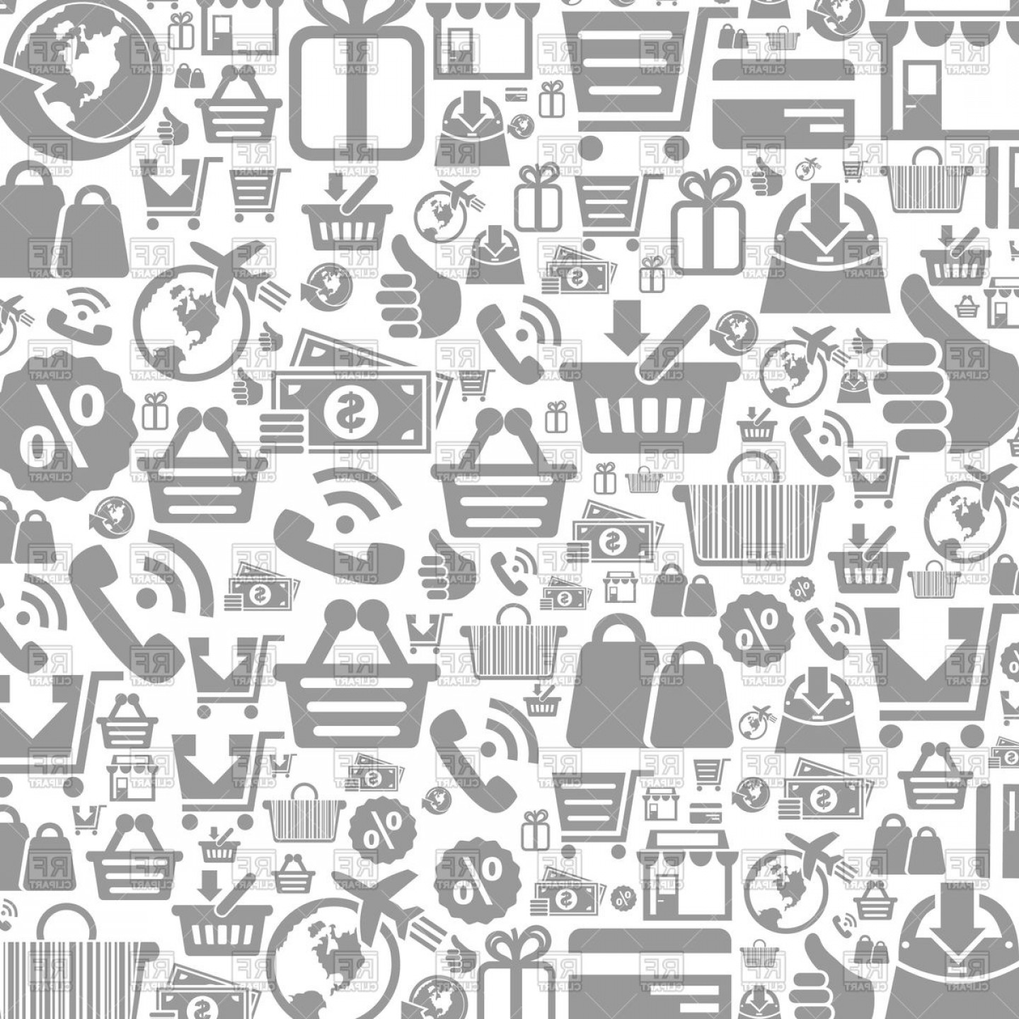 Free EPS Vector Art: Background Made Of Shop Icons Vector Clipart