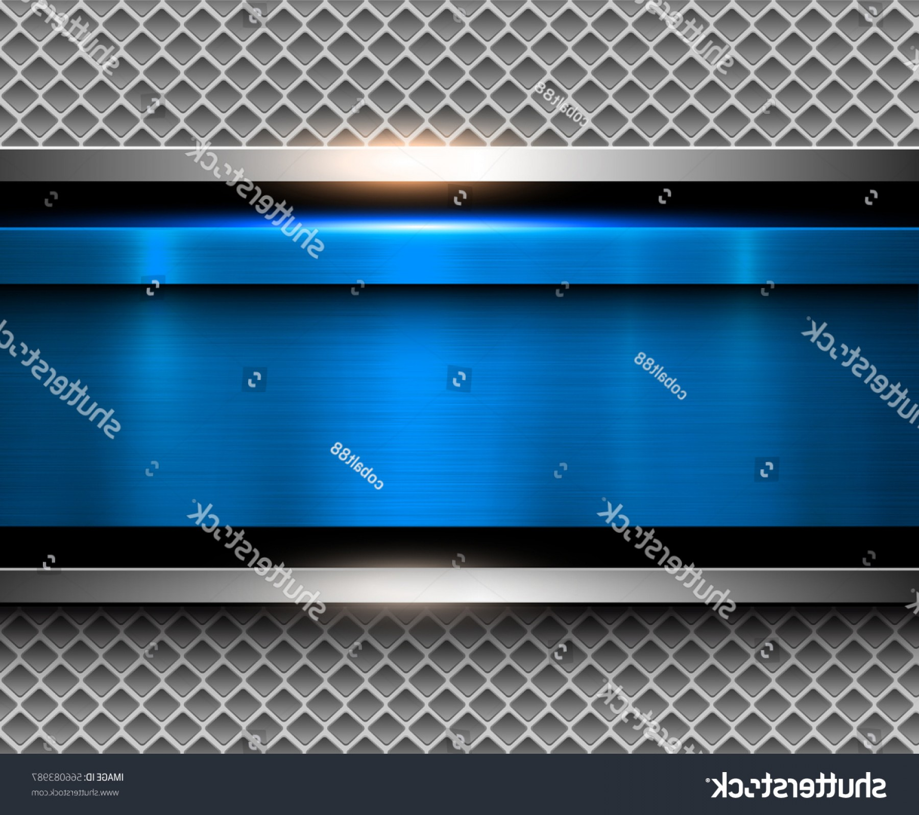 Sheet Metal Effect Vector: Background Metallic Blue Brushed Metal Texture