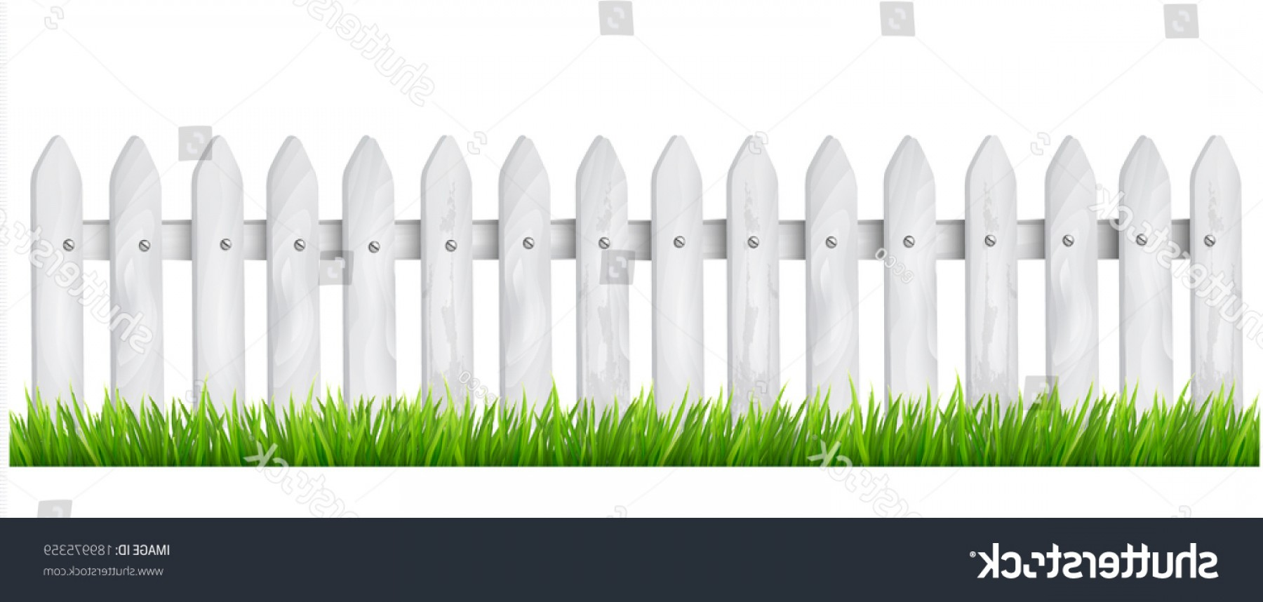 Outdoor Fence Vector: Background White Wooden Fence Grass Vector