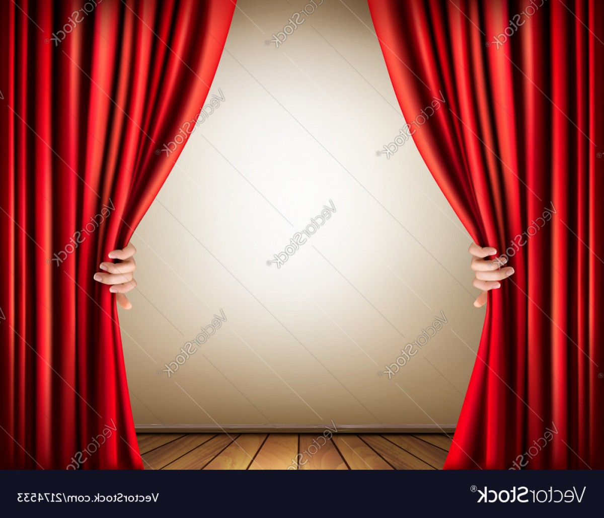 Stage Curtain Vector: Background With A Stage And A Curtain Vector