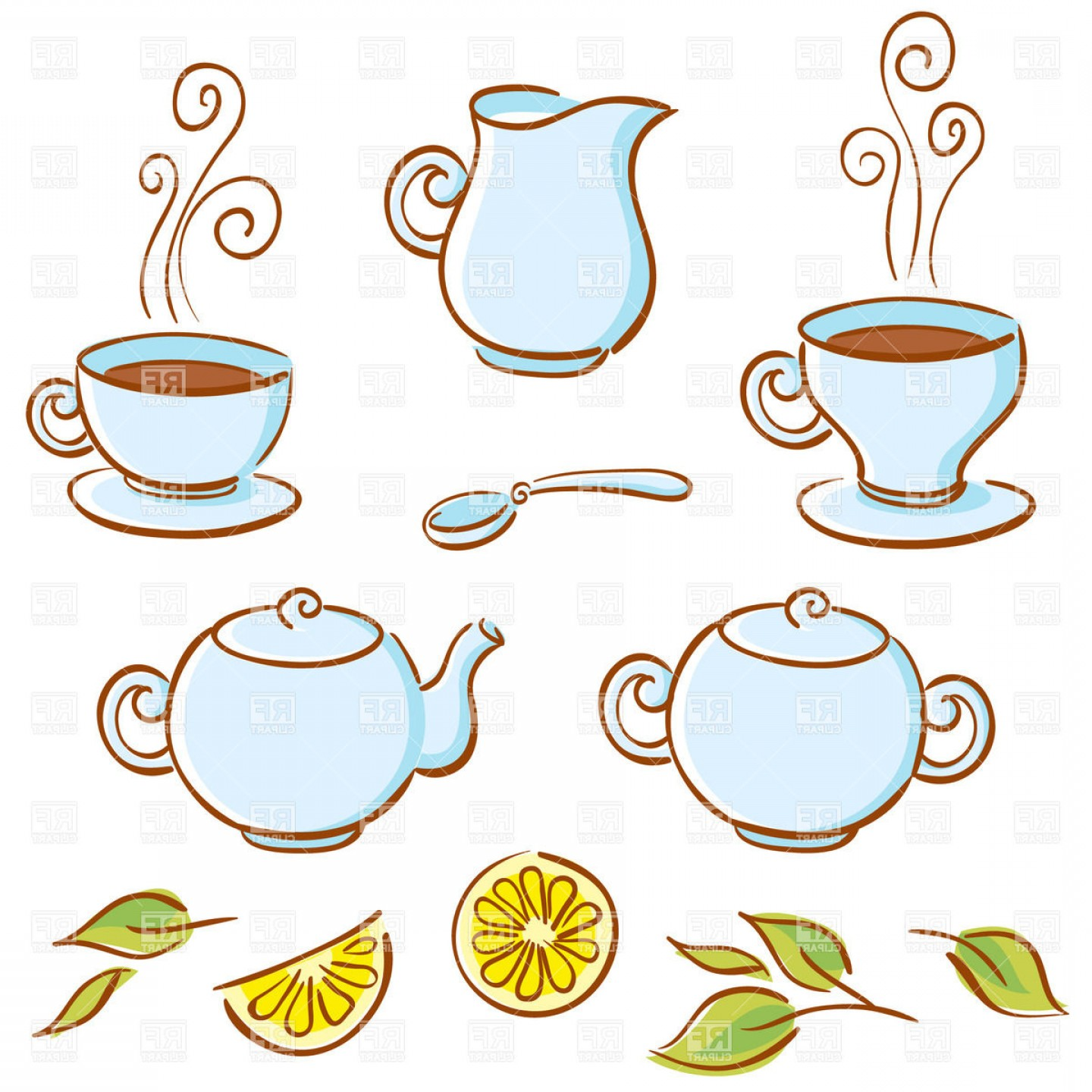 Tea Set Vector: Background With Cartoon Tea Set Lemon And Cup Of Coffee Sugar Bowl Teapot Cup Saucer Spoon And Milk Jug Vector Clipart