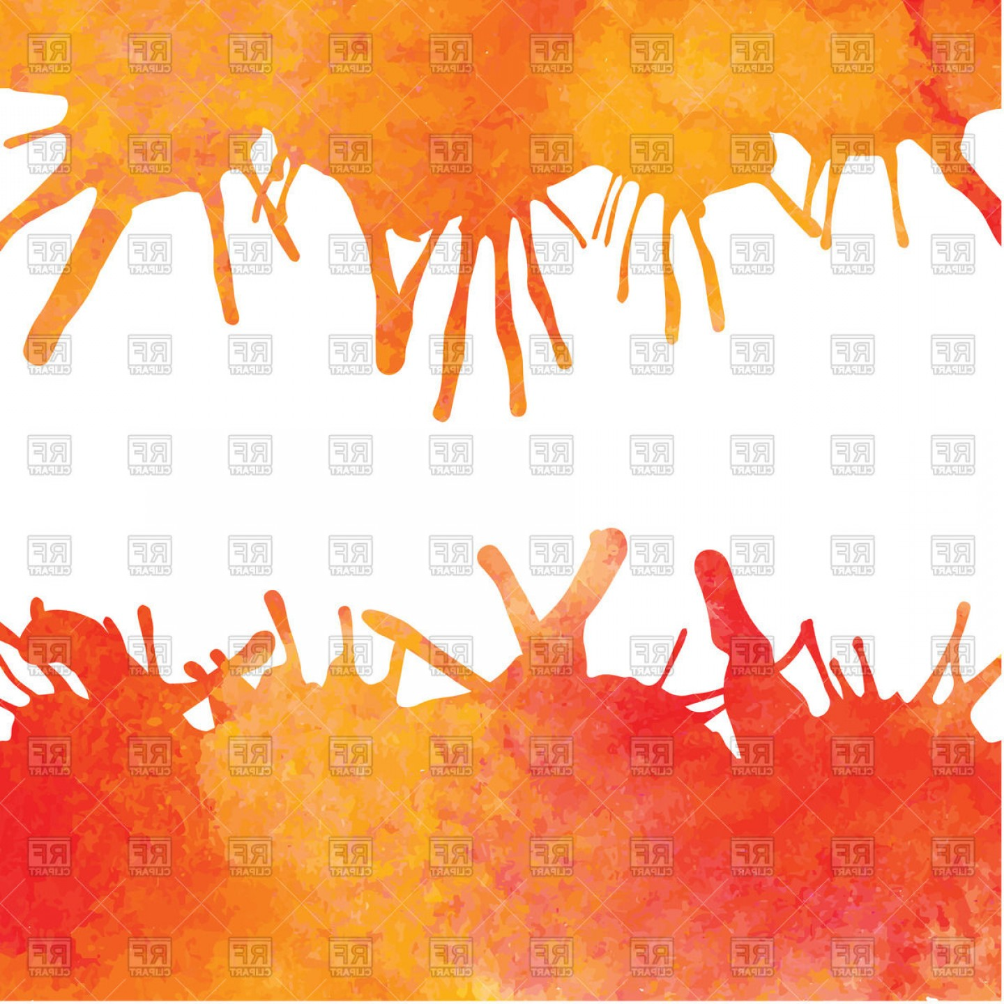 Orange Watercolor Vector Free: Background With Orange Watercolor Borders And Blots Vector Clipart
