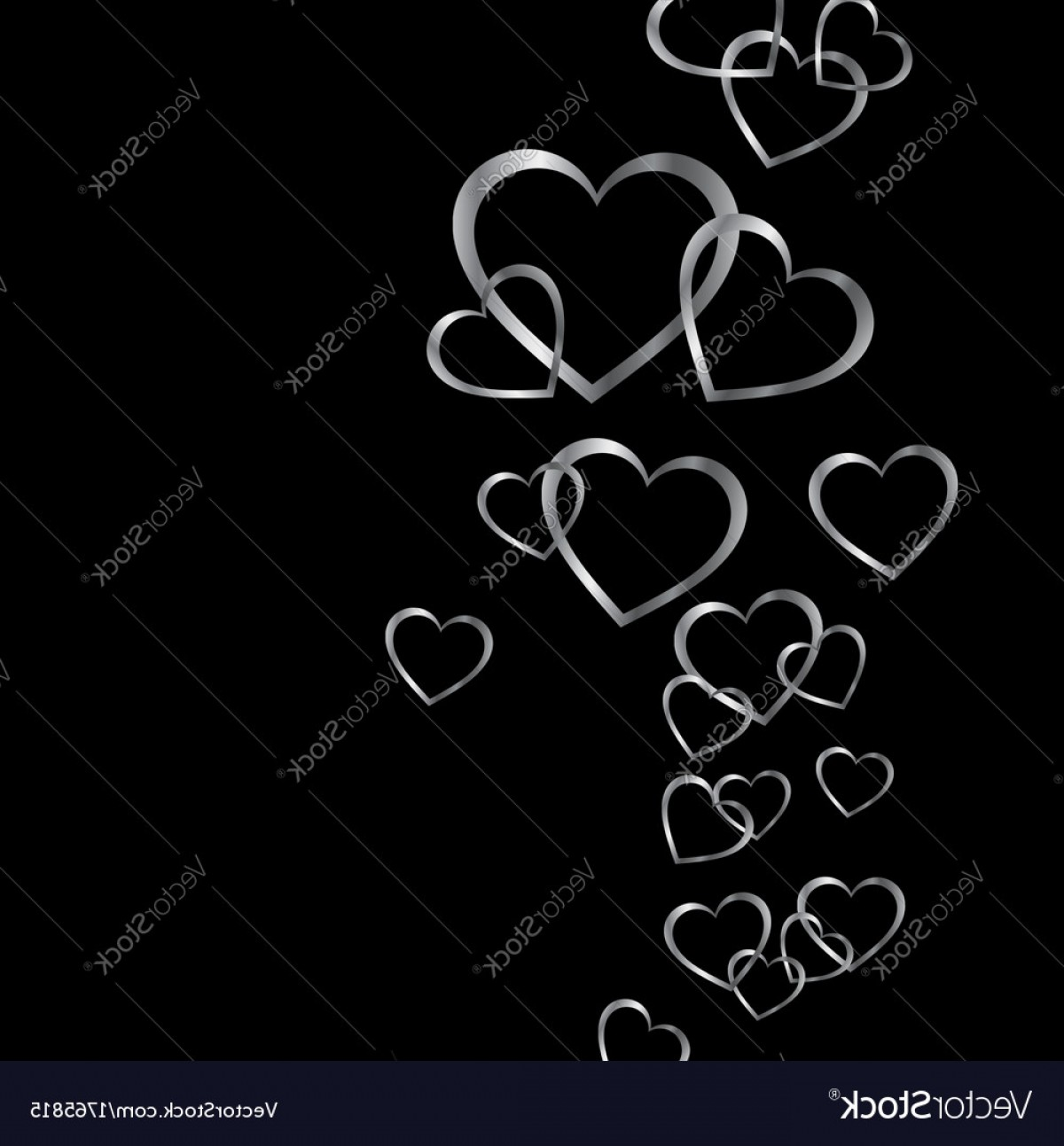 Silver Heart Vector: Background With Silver Hearts Vector
