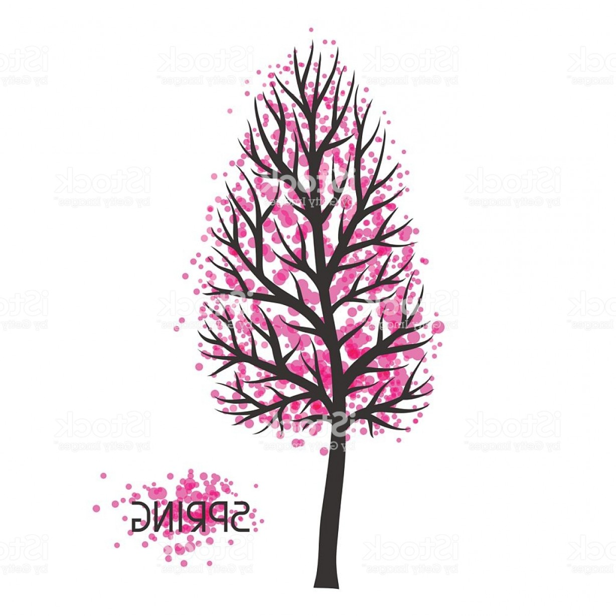 Spring Vector Silhouette: Background With Spring Tree Illustration Of Silhouette And Abstract Spots Gm
