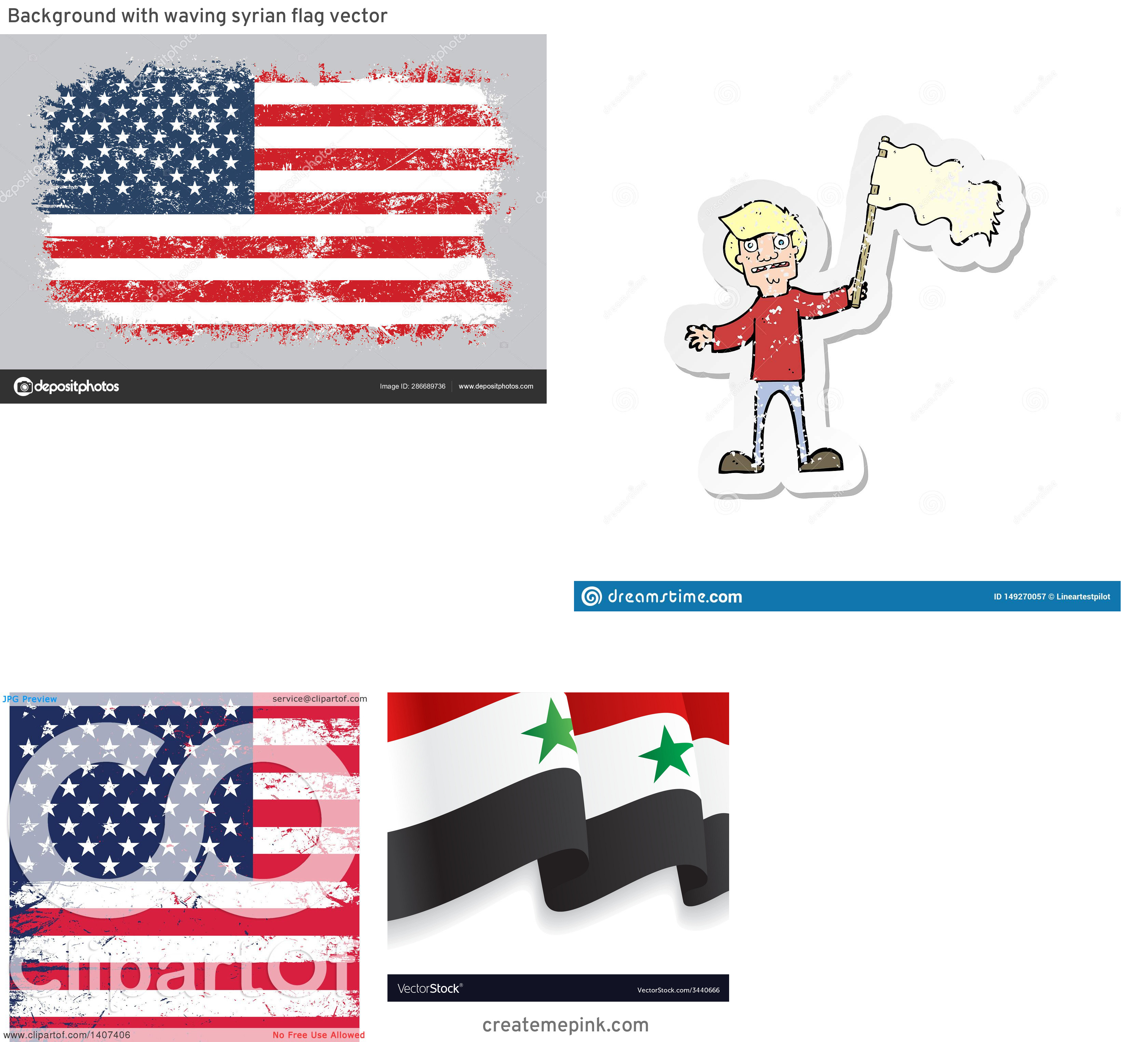 Waving Distressed Flag Vector: Background With Waving Syrian Flag Vector