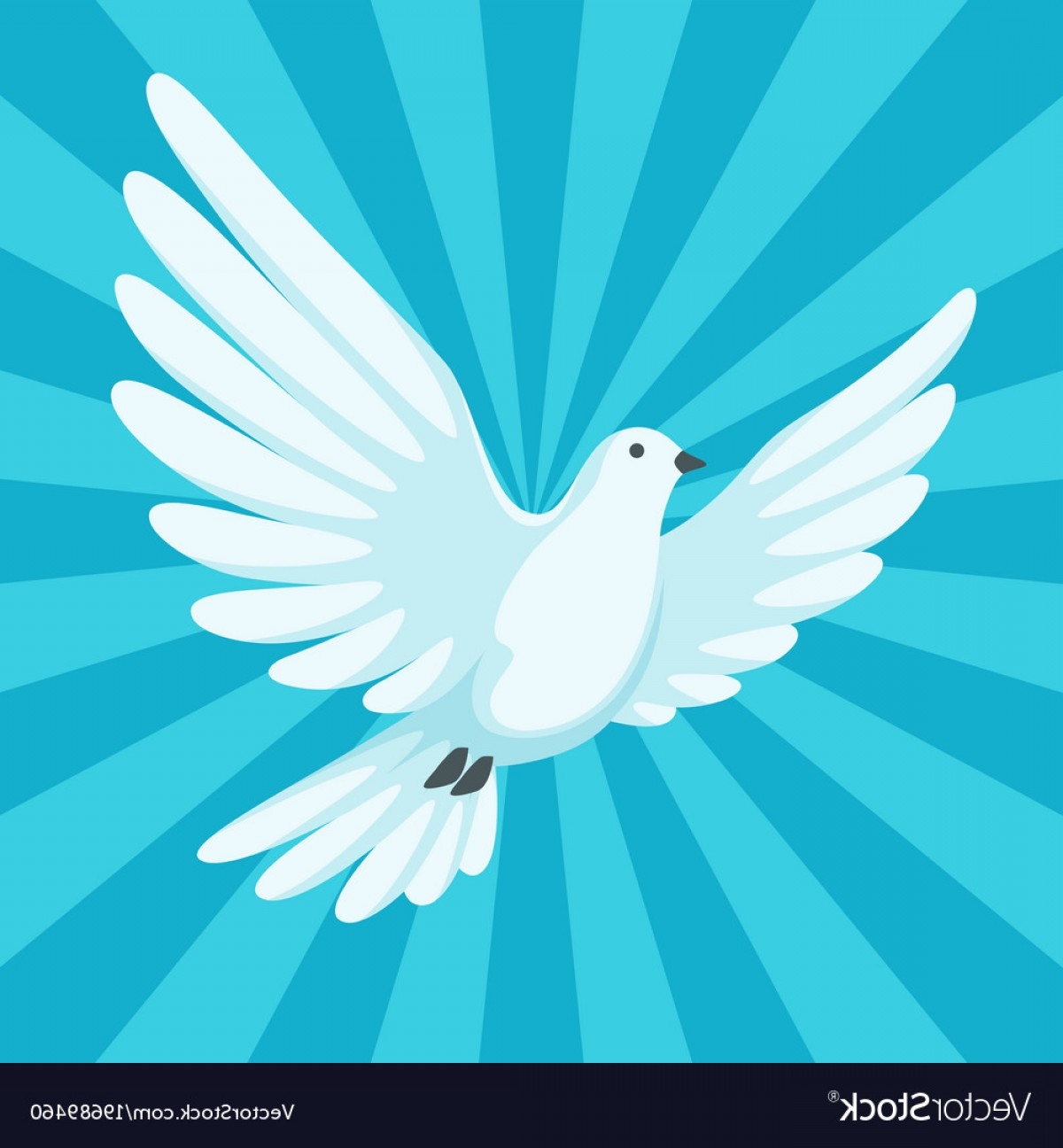 Vector Wedding Doves 2: Background With White Dove Beautiful Pigeon Faith Vector