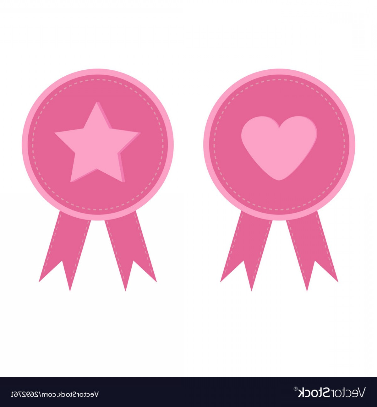 Vectors Heart And Star: Badge Set With Heart Star Star Heart And Ribbons Vector