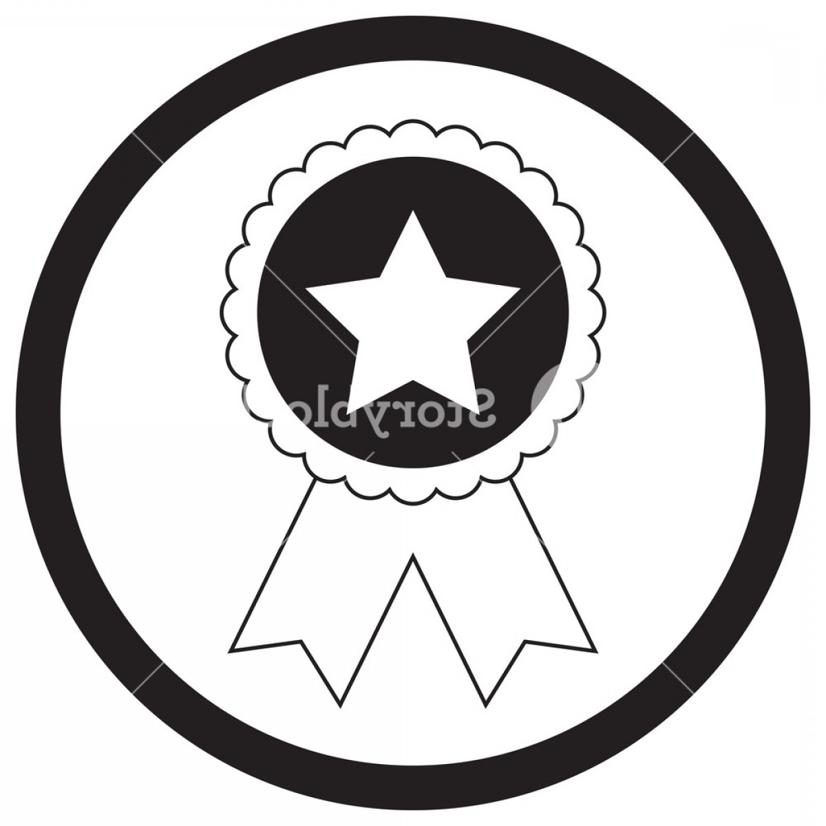 Star Badge Vector: Badge Star Monochrome Star With Ribbon Star Sticker Employee Of The Month Winner Badge Vector Illustration Reqlhfdwjlvqbmp