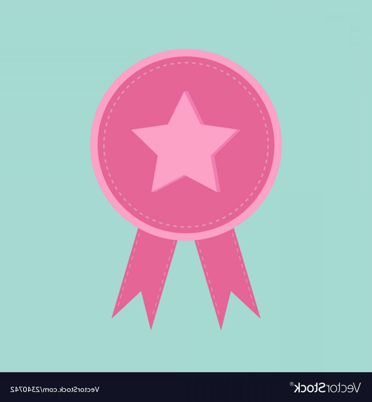 Star Badge Vector: Badge With Star And Ribbons Award Icon In Flat Vector