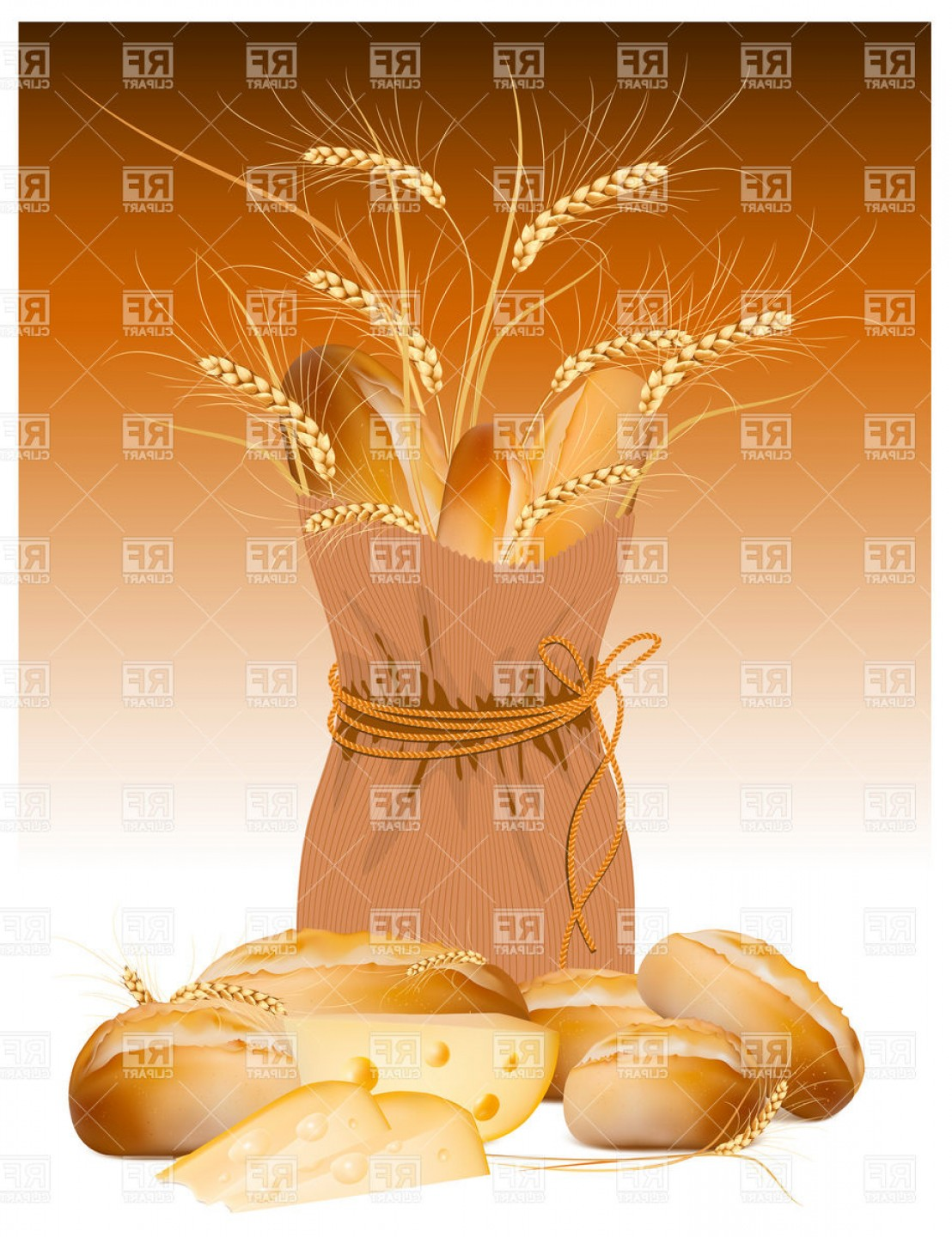 Bread Of Life Vector Art: Bag With Bread And Wheat Vector Clipart