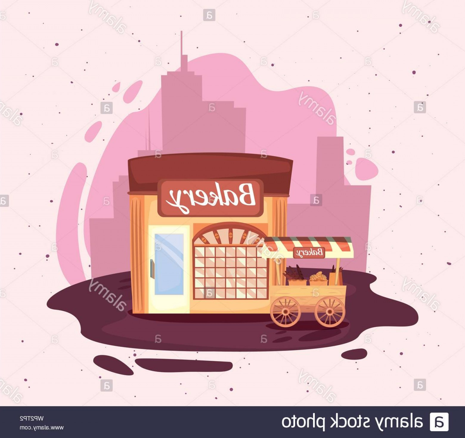 Commercial Booth Vector: Bakery Booth And Shop Street Market Commerce Flat Design Vector Illustration Image
