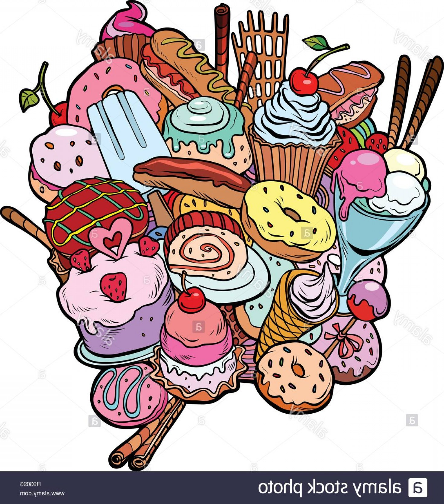 Food Vectors 50 S: Baking Sweets Delicious Food Birthday Isolate On White Background Pop Art Retro Vector Illustration Kitsch Vintage Image