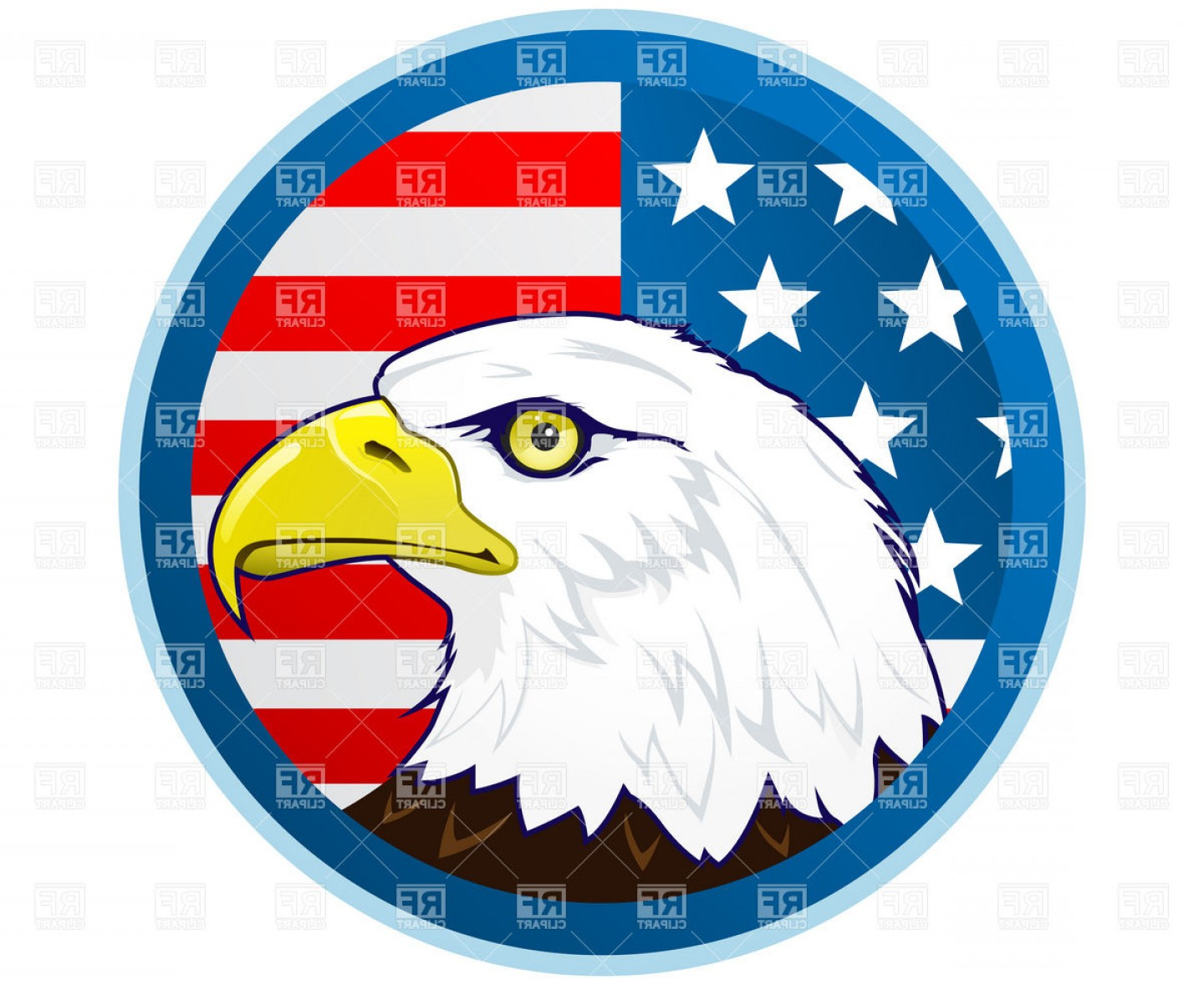 Patriotic Bald Eagle Vector: Bald Eagle And American Flag Vector Clipart