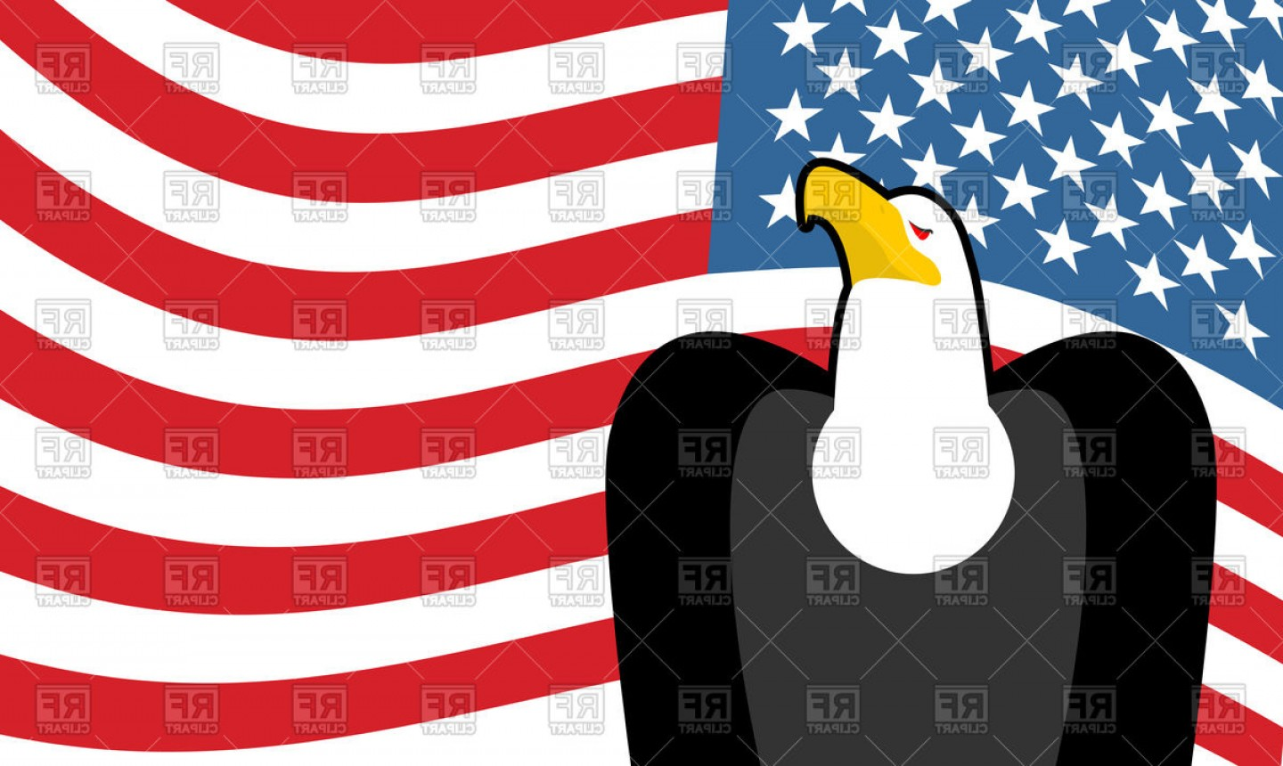 Patriotic Bald Eagle Vector: Bald Eagle And Us Flag Patriotic Background Vector Clipart
