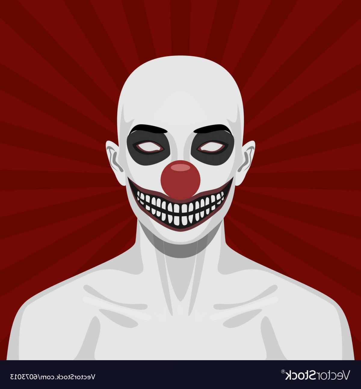 Evil Clown Vector Art: Bald Scary Clown With Smiling Face Vector