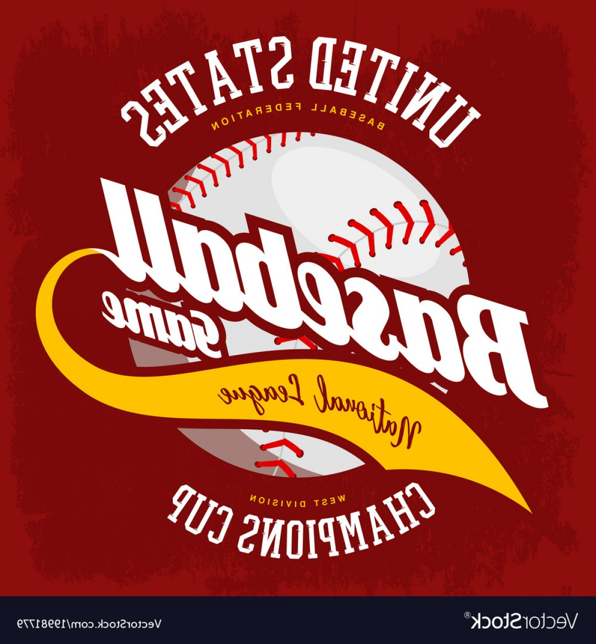 National League Baseball Logo Vector: Ball For American Sport Baseball Game Logo Vector