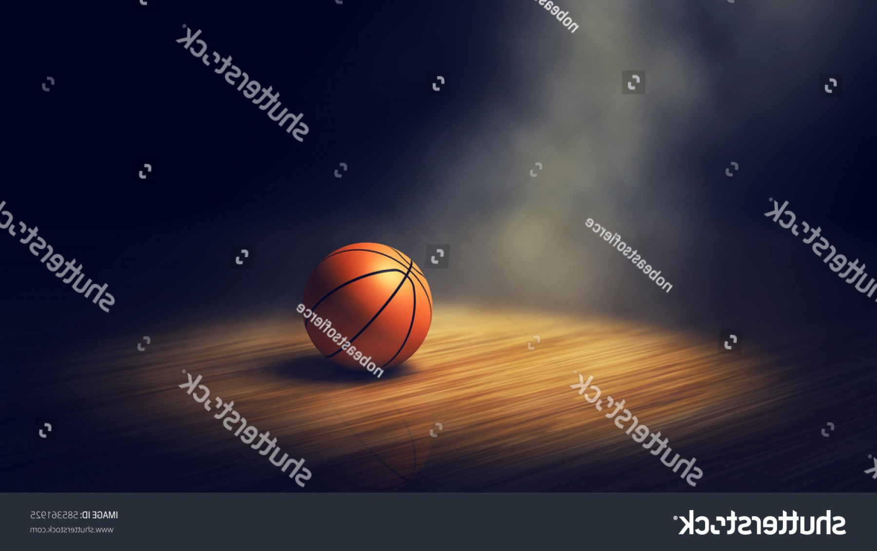 Vector Spotlight 3 Million: Ball On Basketball Court Spotlight D