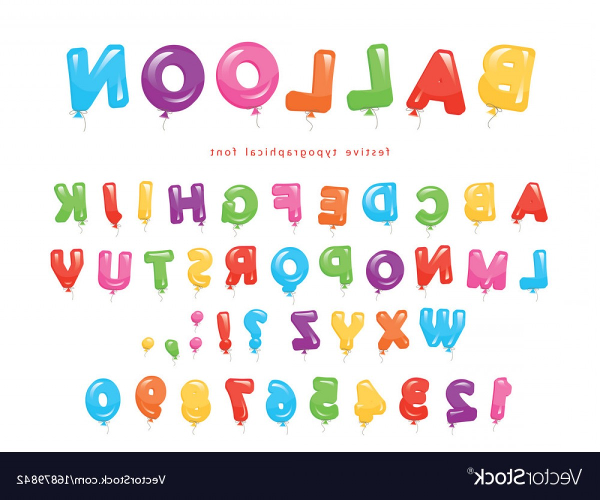 ABC Vectors: Balloon Colorful Font Festive Glossy Abc Letters Vector