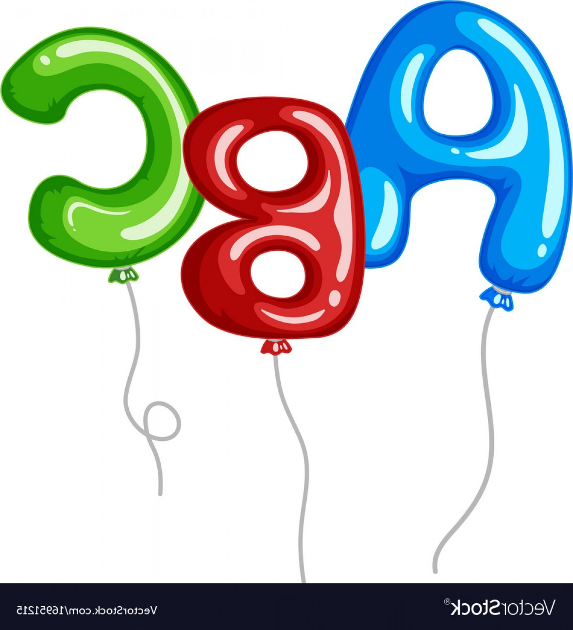 ABC Vectors: Balloons With Alphabets Shapes Abc Vector