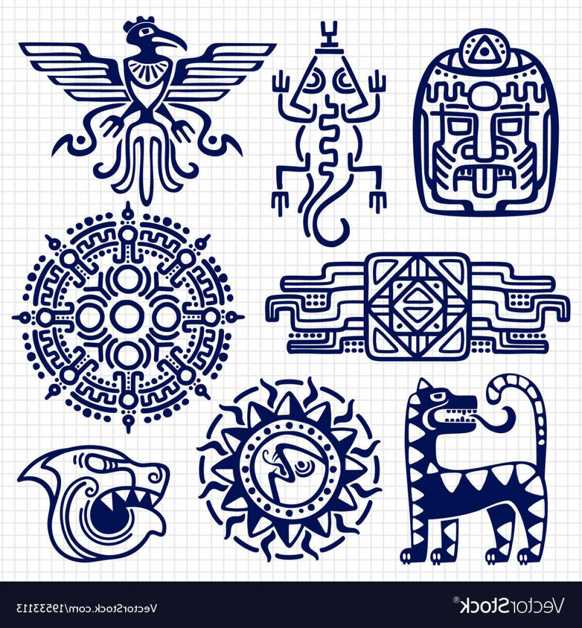 Mayan Vector: Ballpoint Pen American Aztec Mayan Culture Native Vector