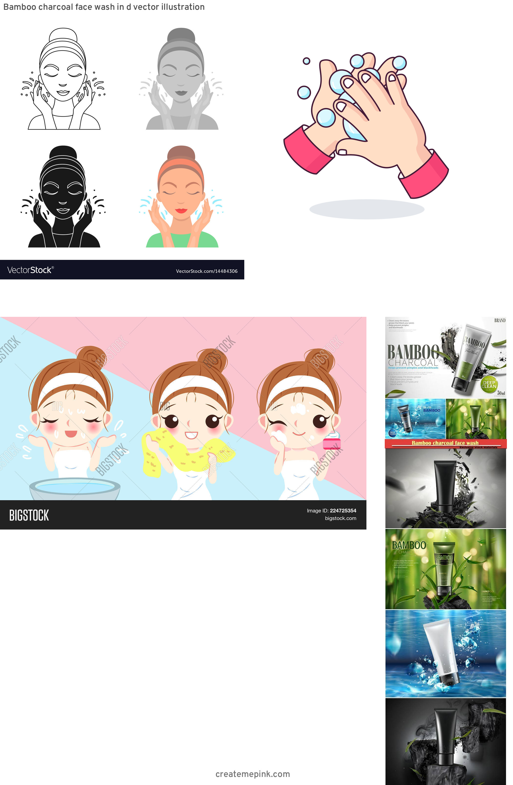 Vector Face Wash: Bamboo Charcoal Face Wash In D Vector Illustration