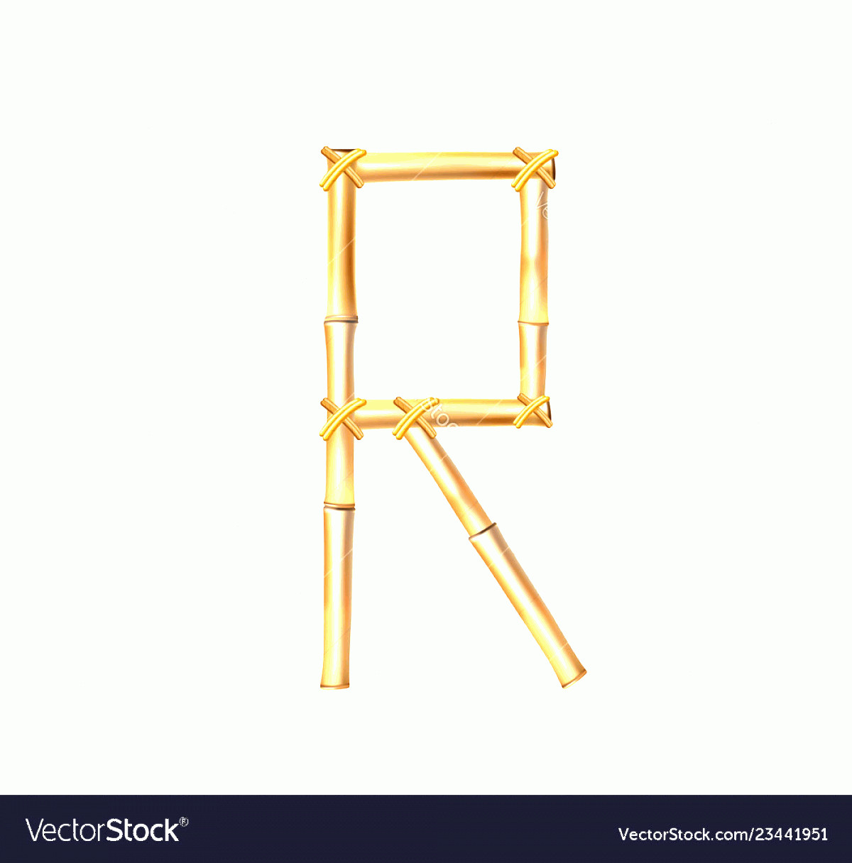 R Transparent Background Vector: Bamboo Letter R Isolated On Transparent Background Vector