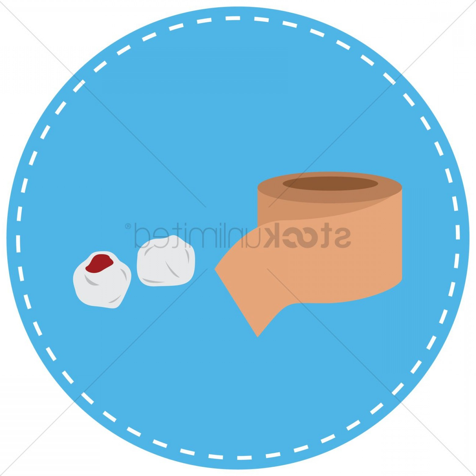 Cotton Vector Graphic: Bandage And Blood Stained Cotton Ball