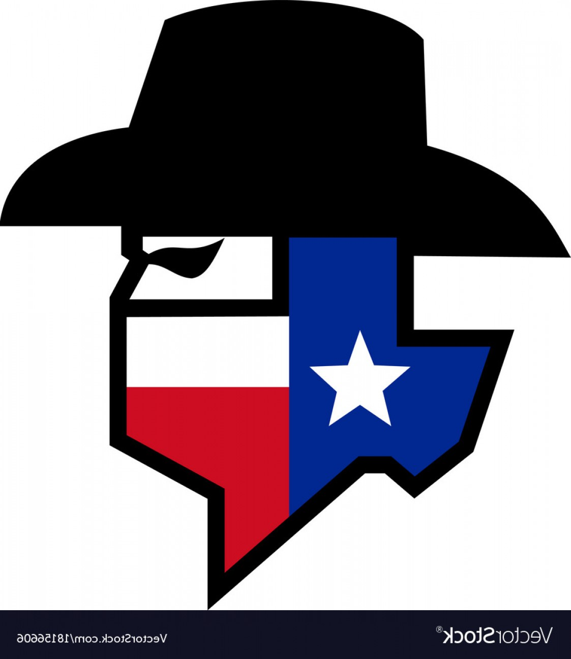 Texas Flag Vector Art: Bandit Texas Flag Icon Vector
