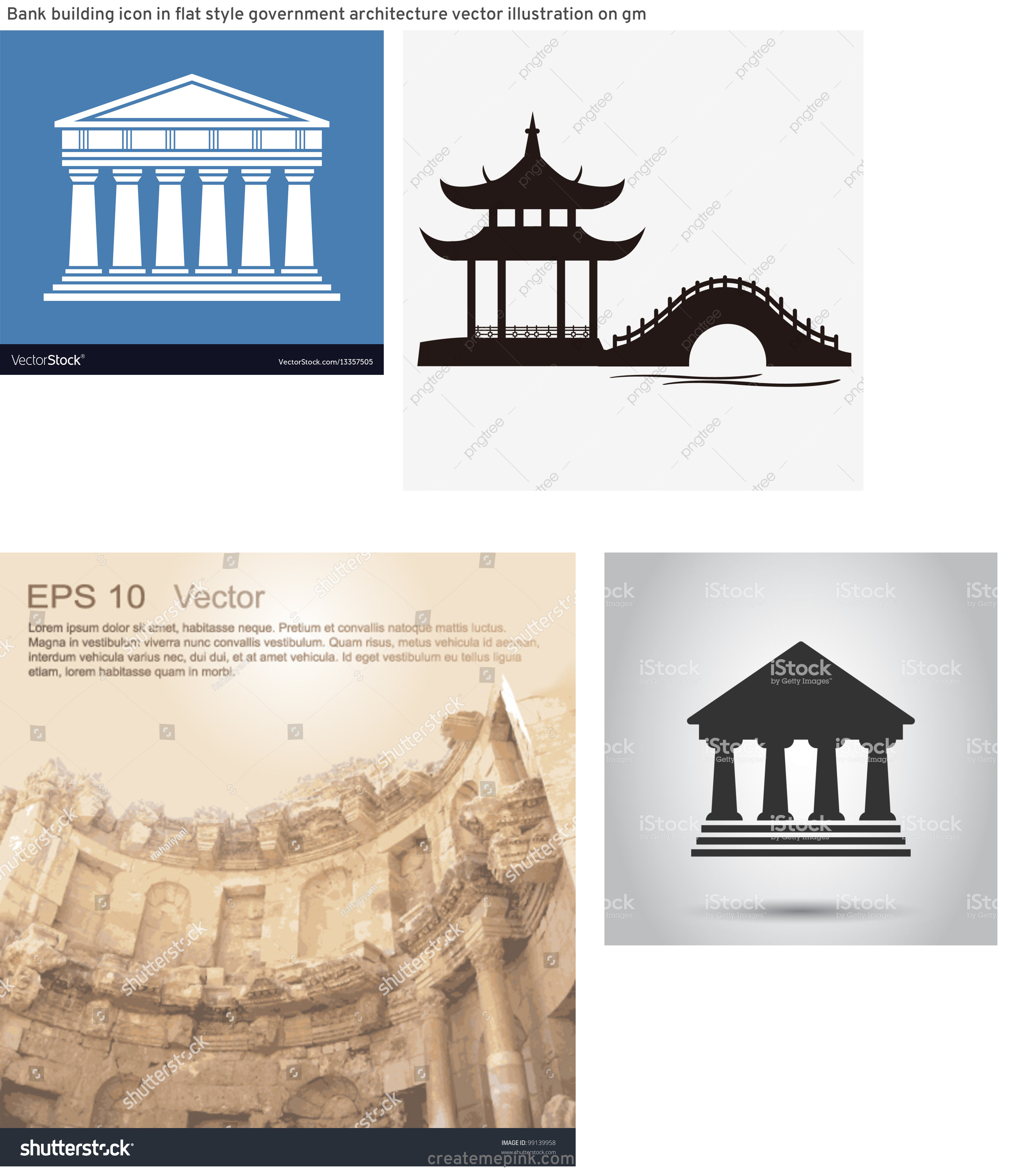 Ancient Architecture Vector: Bank Building Icon In Flat Style Government Architecture Vector Illustration On Gm