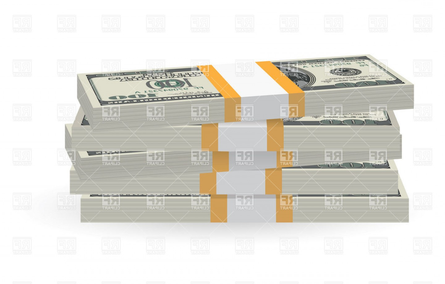 Hundreds Of Money Stacks Vector: Banknotes Money Stack Vector Clipart