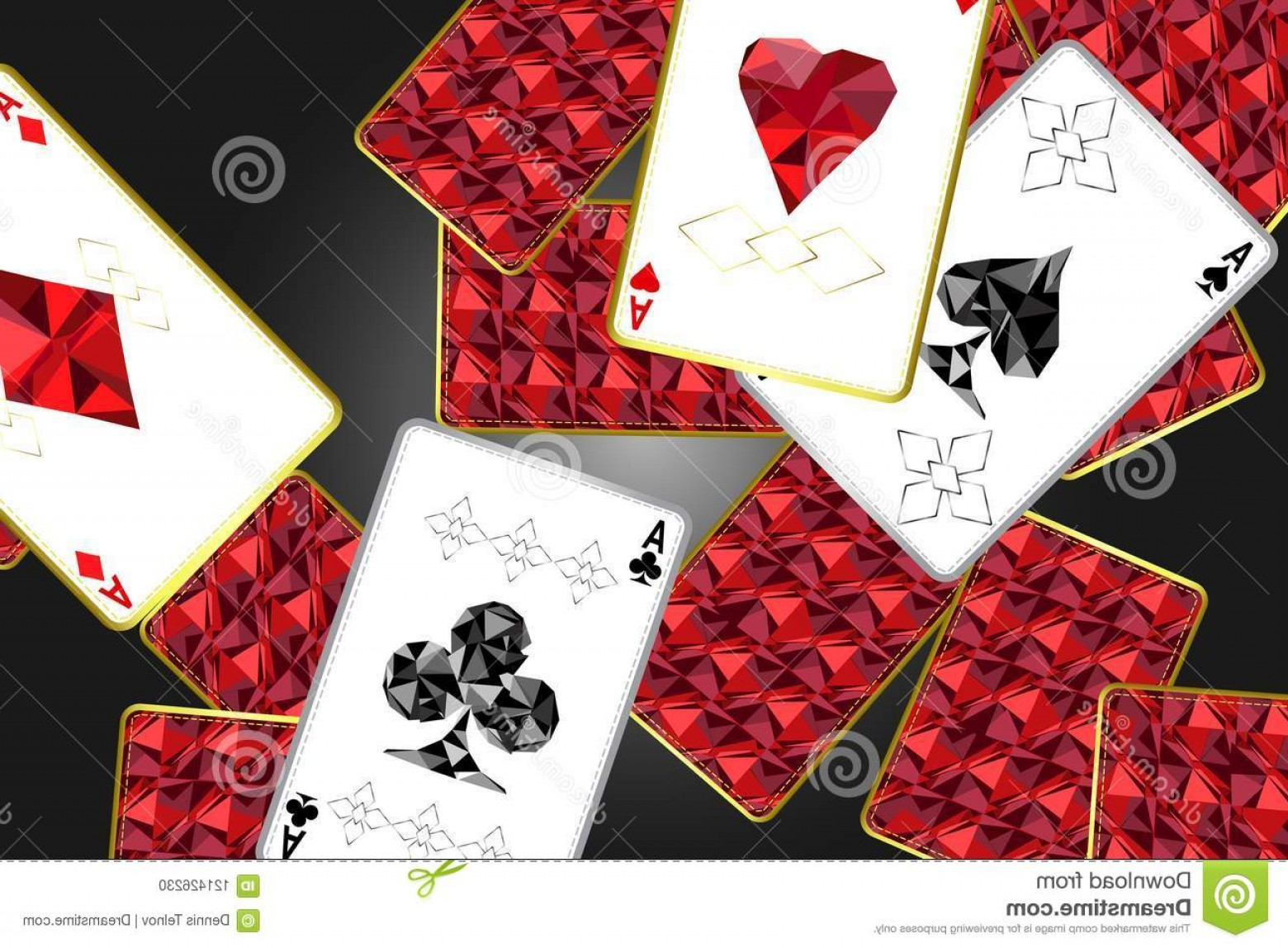Card Suits Vector Outlines: Banner Four Aces Specific Outline Suits Background Red Card Cover Specific Ornament Vector Image
