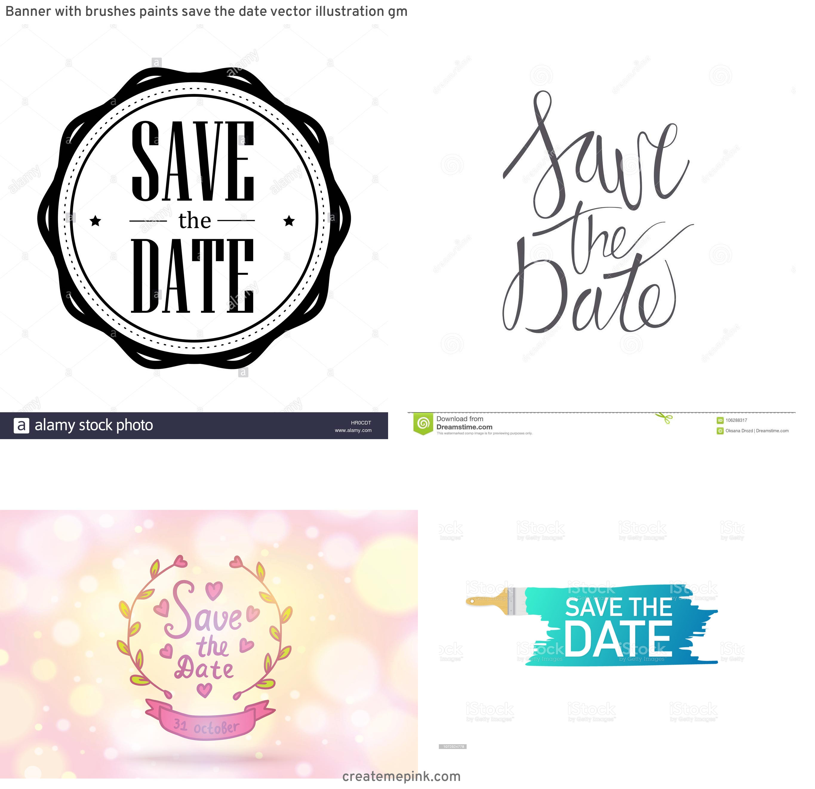 Save The Date Vector: Banner With Brushes Paints Save The Date Vector Illustration Gm