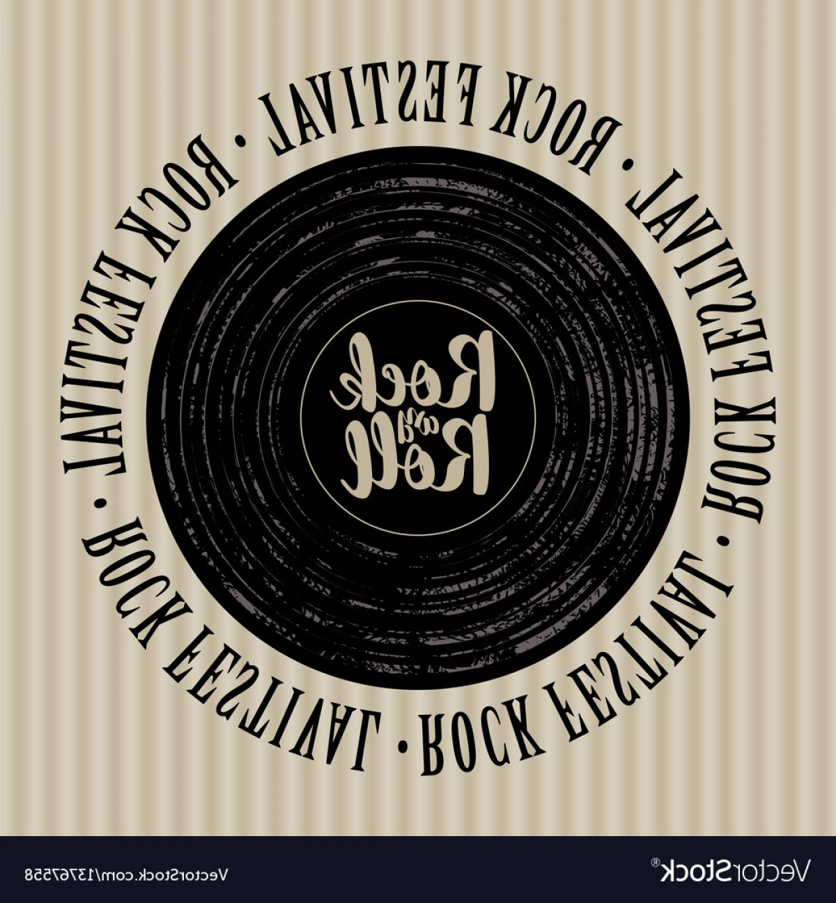 Vinyl Roll Vector: Banner With Vinyl Record And Lettering Rock N Roll Vector